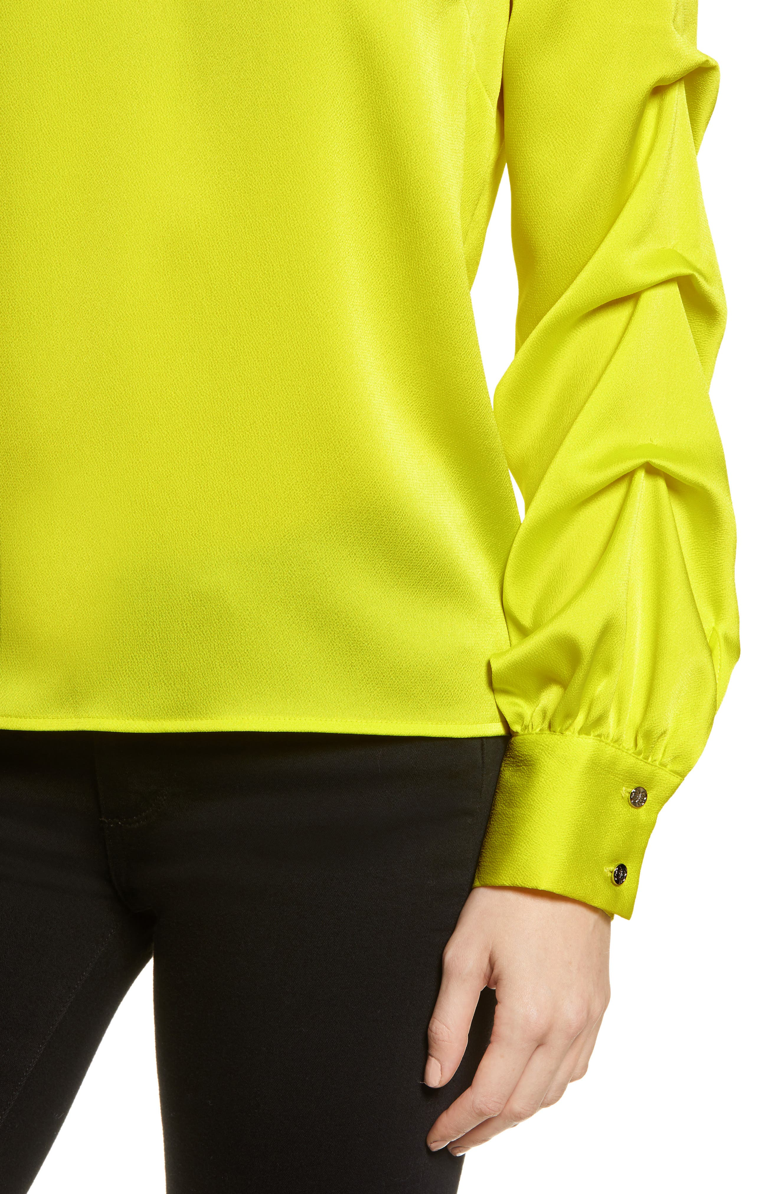 Satin Gathered Sleeve Blouse,                             Alternate thumbnail 4, color,                             LIME BREEZE