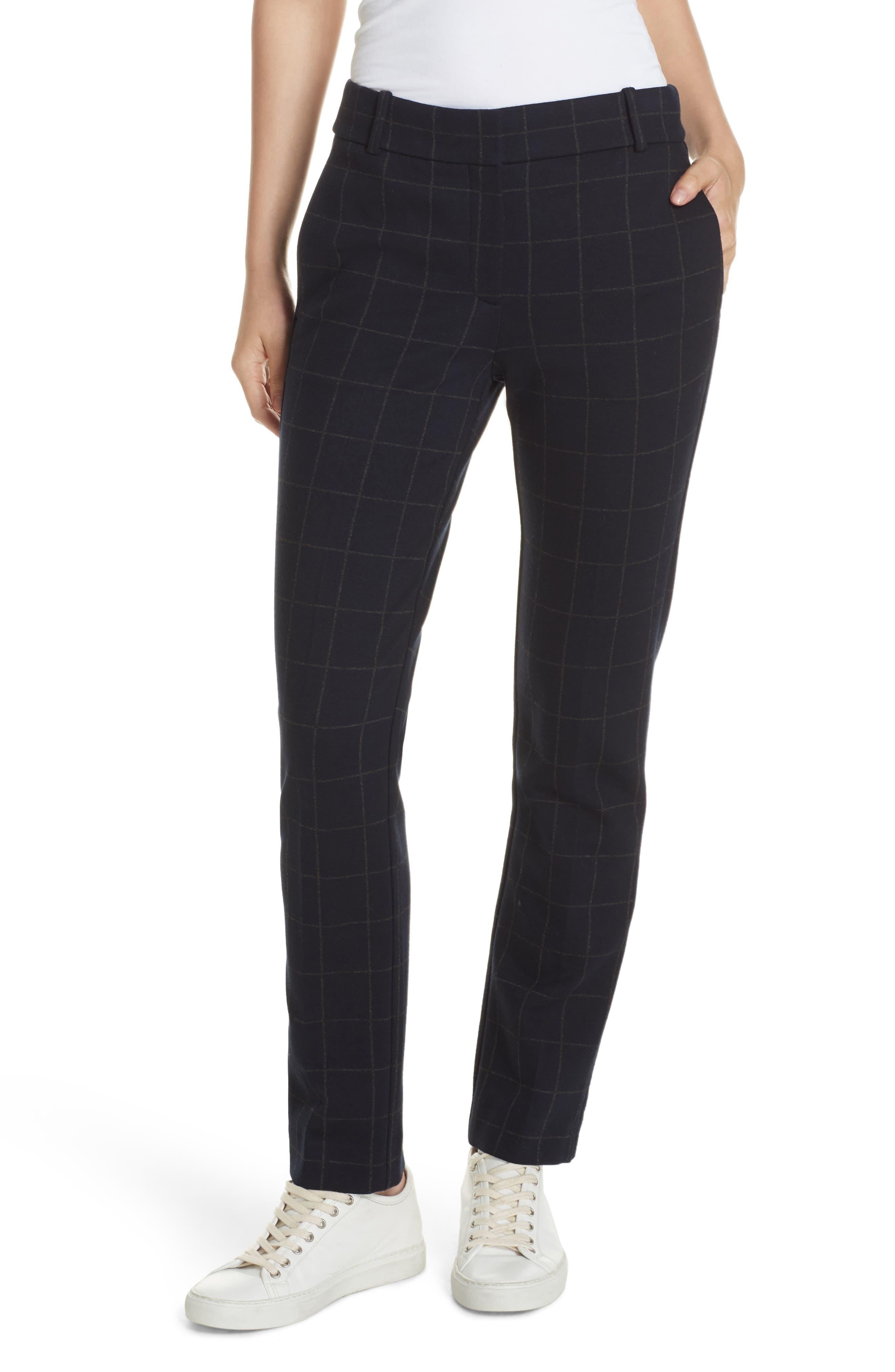 Straight-Leg Windowpane-Check Knit Trousers in Deep Navy/ Charcoal Melange