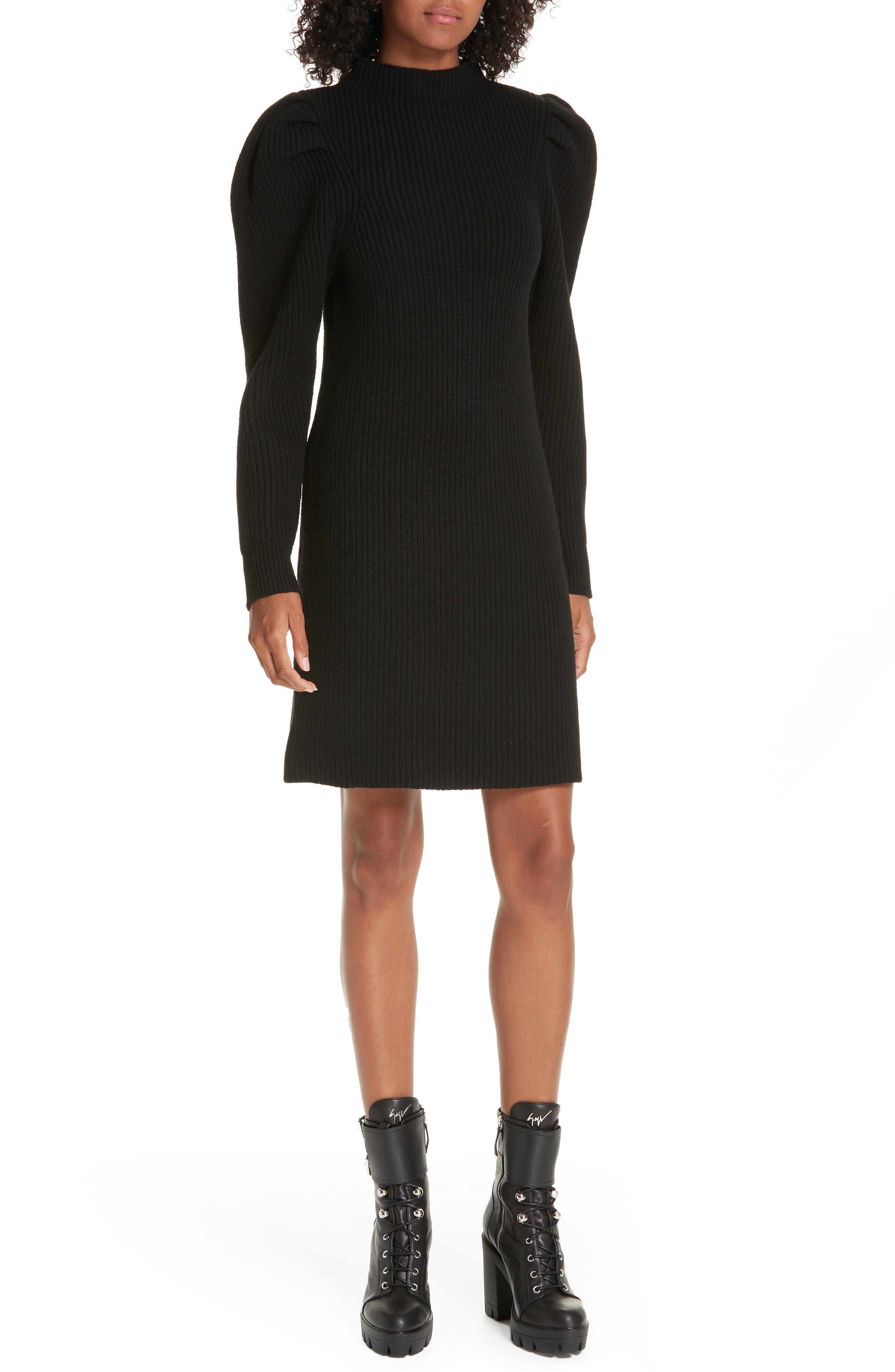 Ribbed Sweater Dress,                             Main thumbnail 1, color,                             BLACK