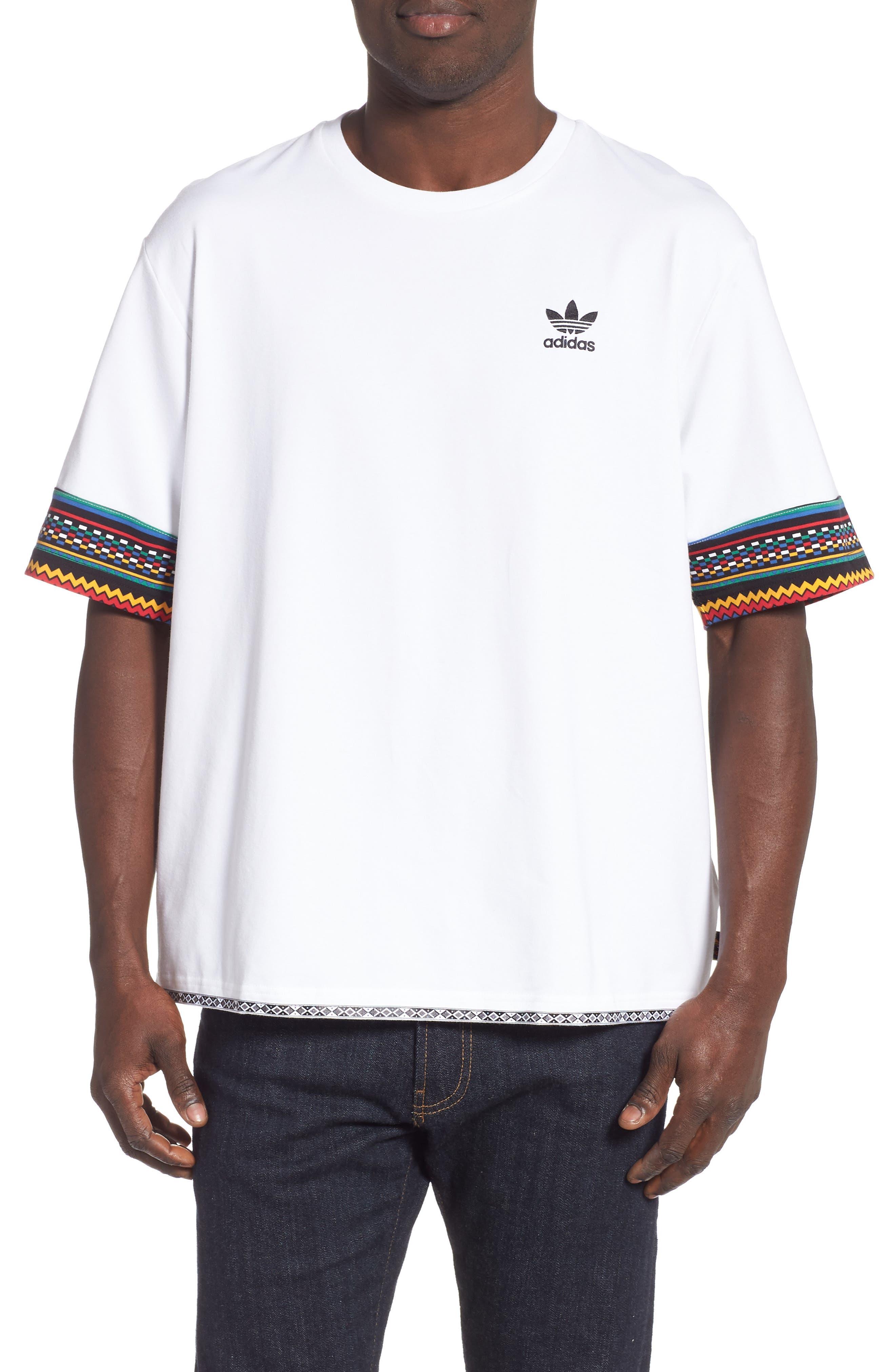 by Pharrell Williams Hu Solar Trefoil T-Shirt,                             Main thumbnail 1, color,                             100