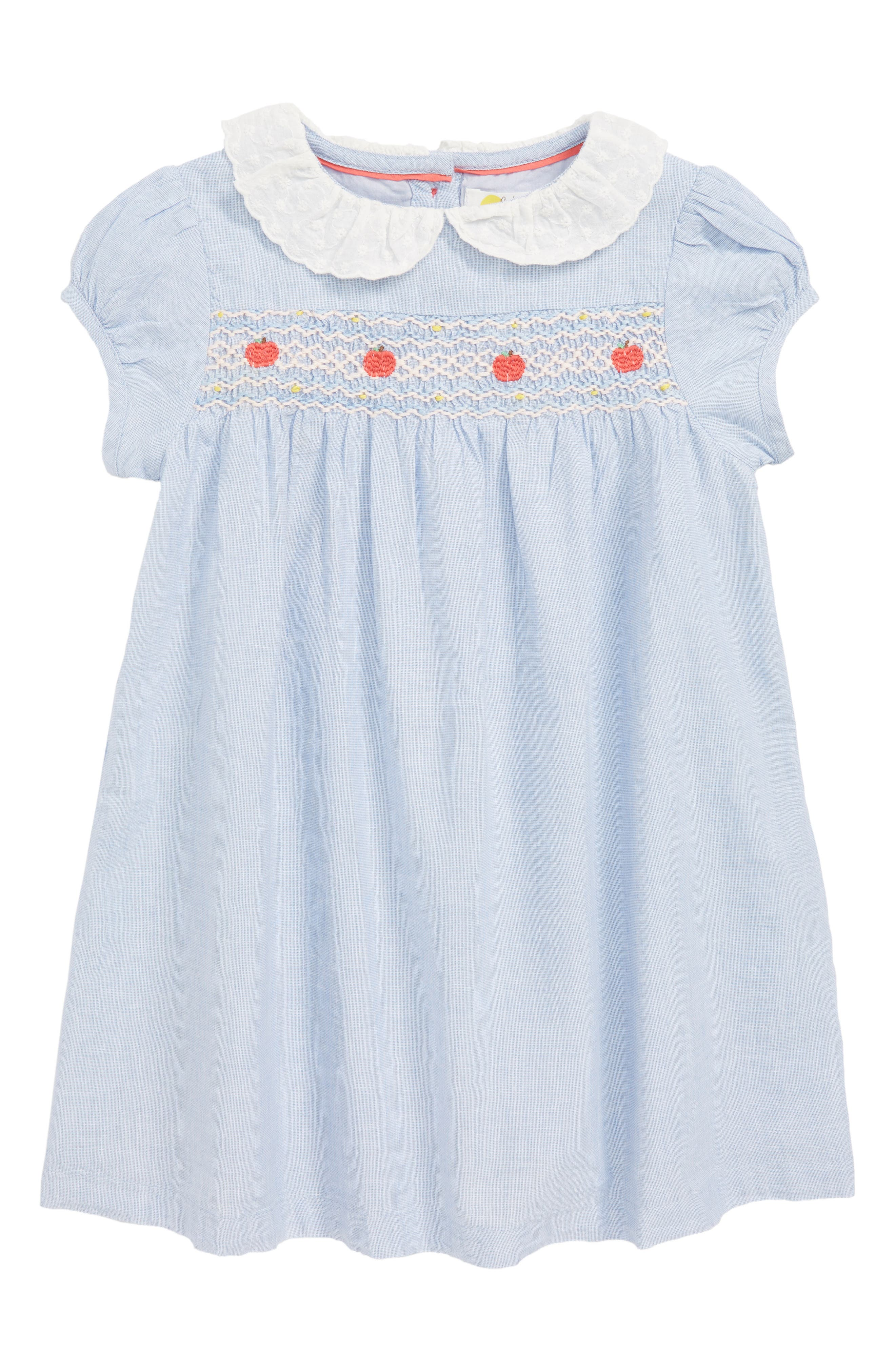 Pretty Collar Smock Dress,                         Main,                         color, CHAMBRAY