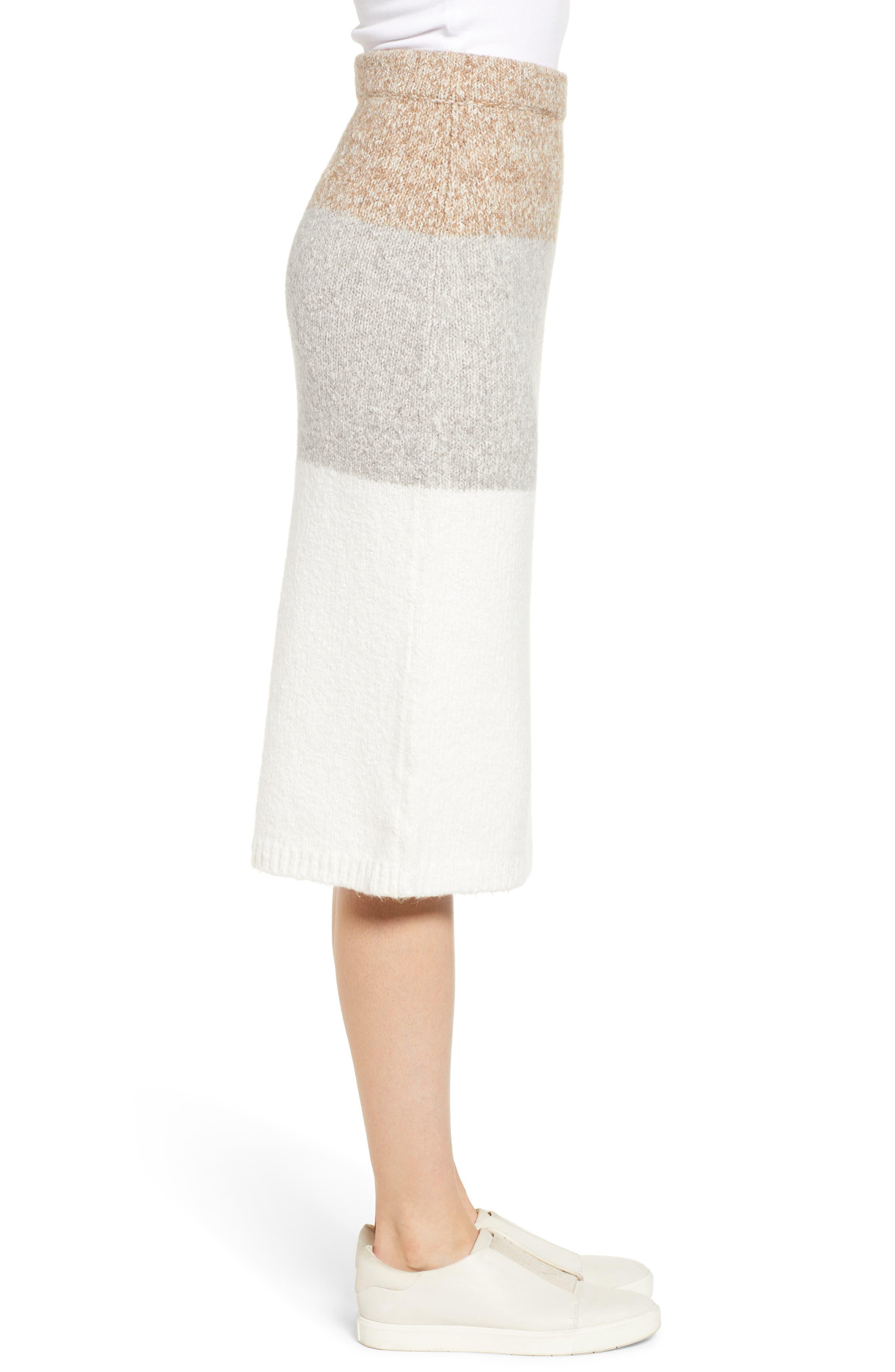 LOU & GREY,                             Stripemarl Sweater Skirt,                             Alternate thumbnail 3, color,                             IVORY