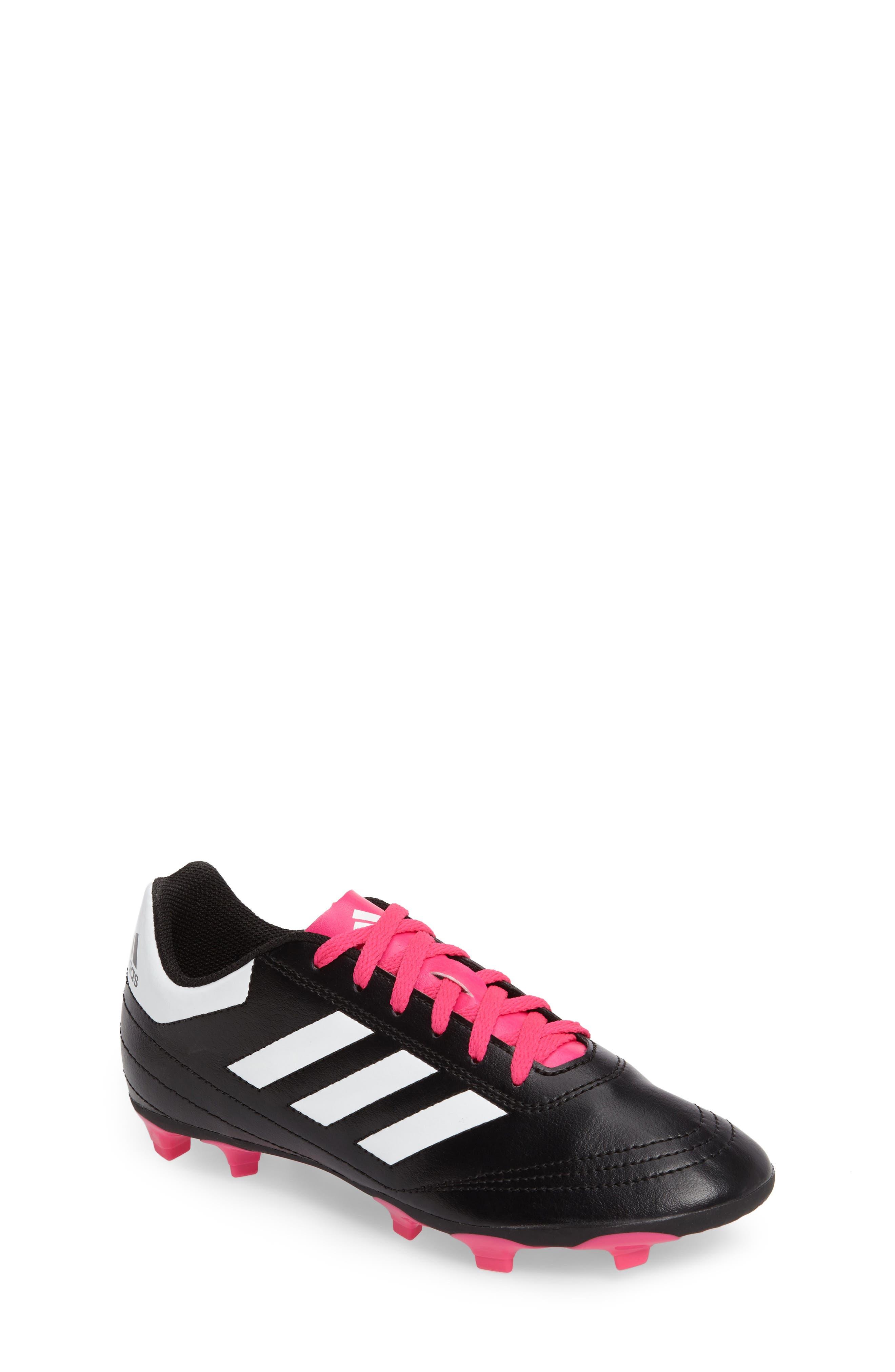 Goletto VI Soccer Shoe,                             Main thumbnail 1, color,                             CORE BLACK/ WHITE/ SHOCK PINK