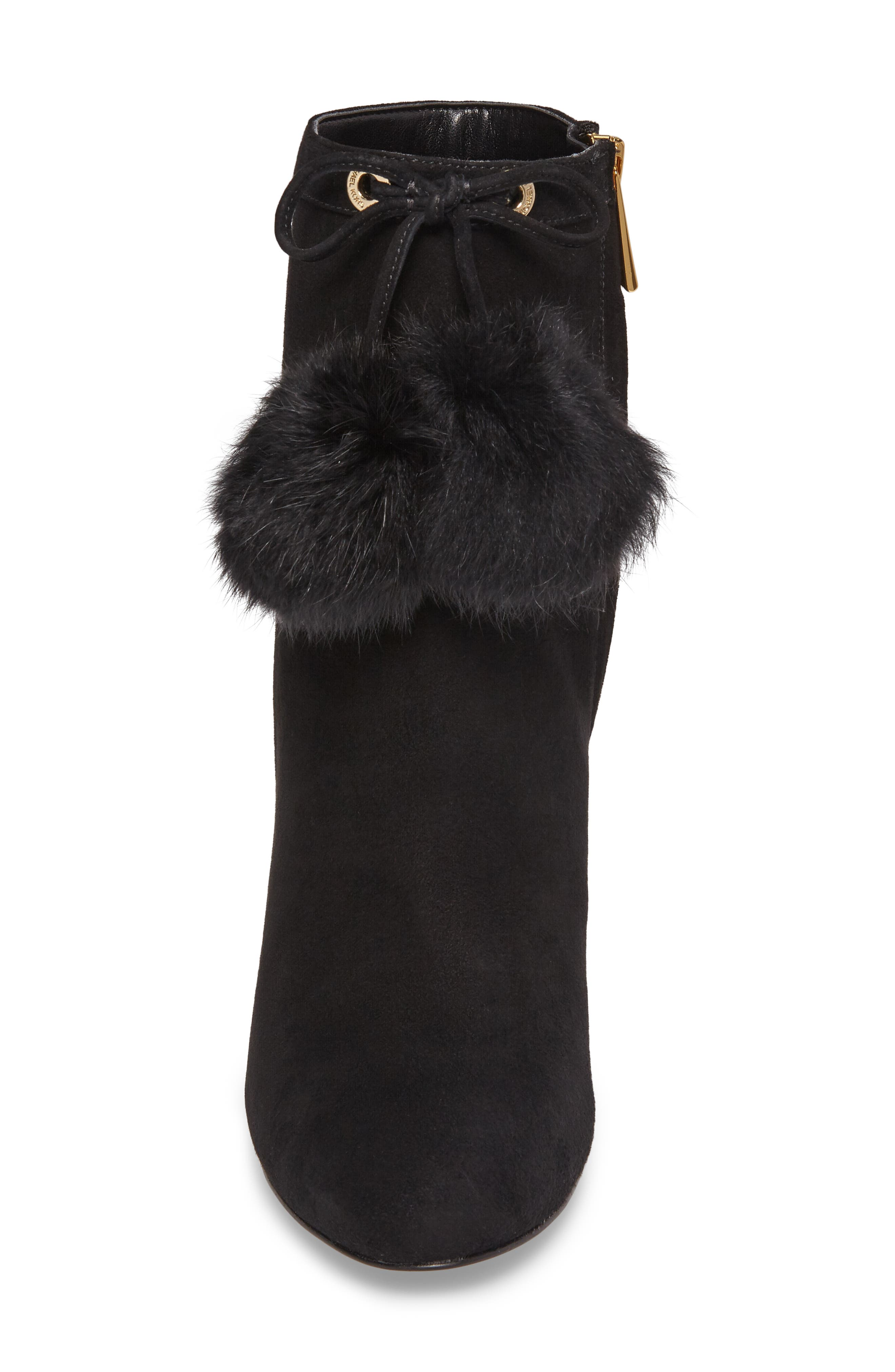 Remi Bootie with Genuine Rabbit Fur Pom,                             Alternate thumbnail 4, color,                             002