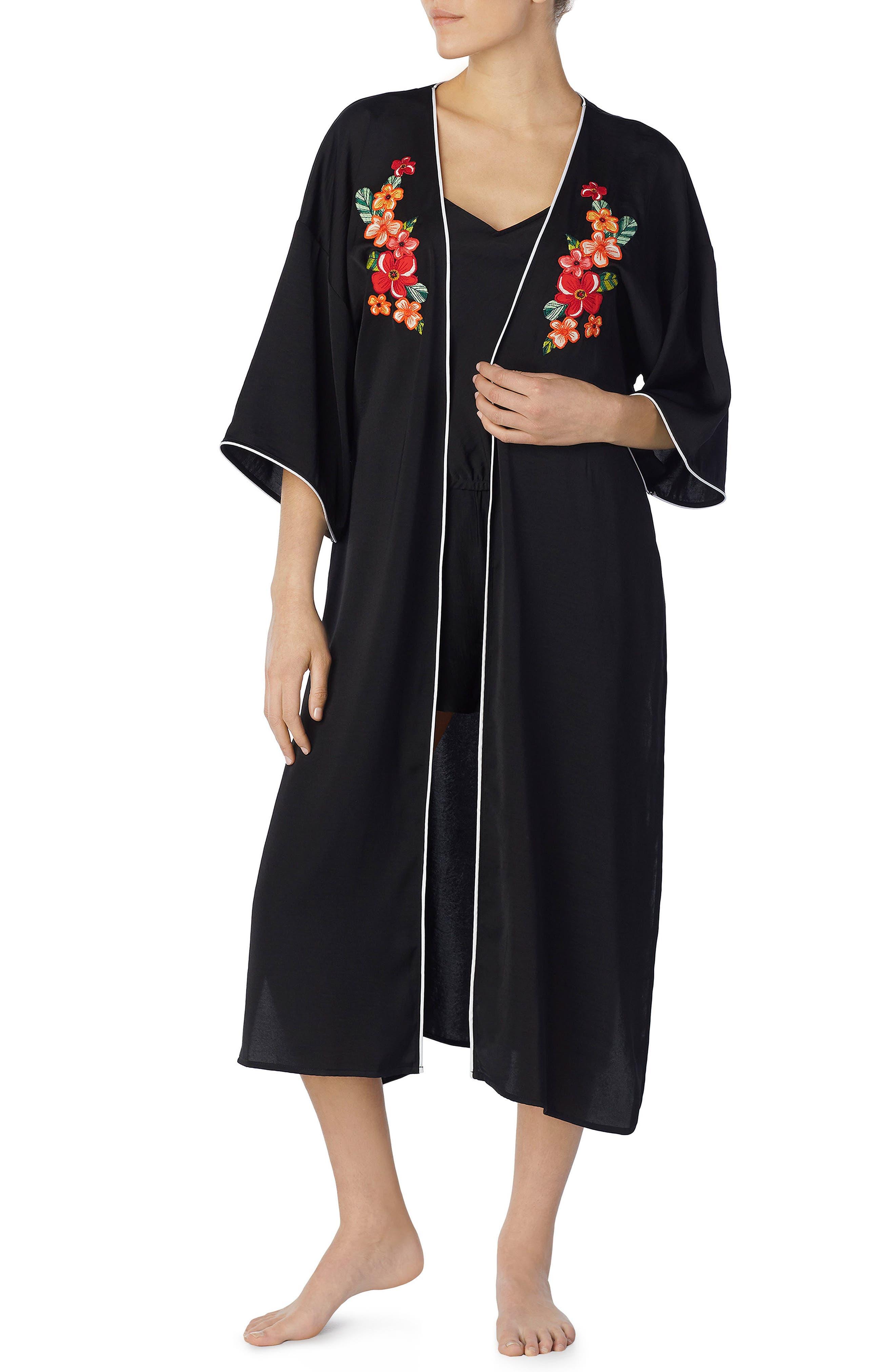 Tie Front Satin Kimono,                             Main thumbnail 1, color,                             001
