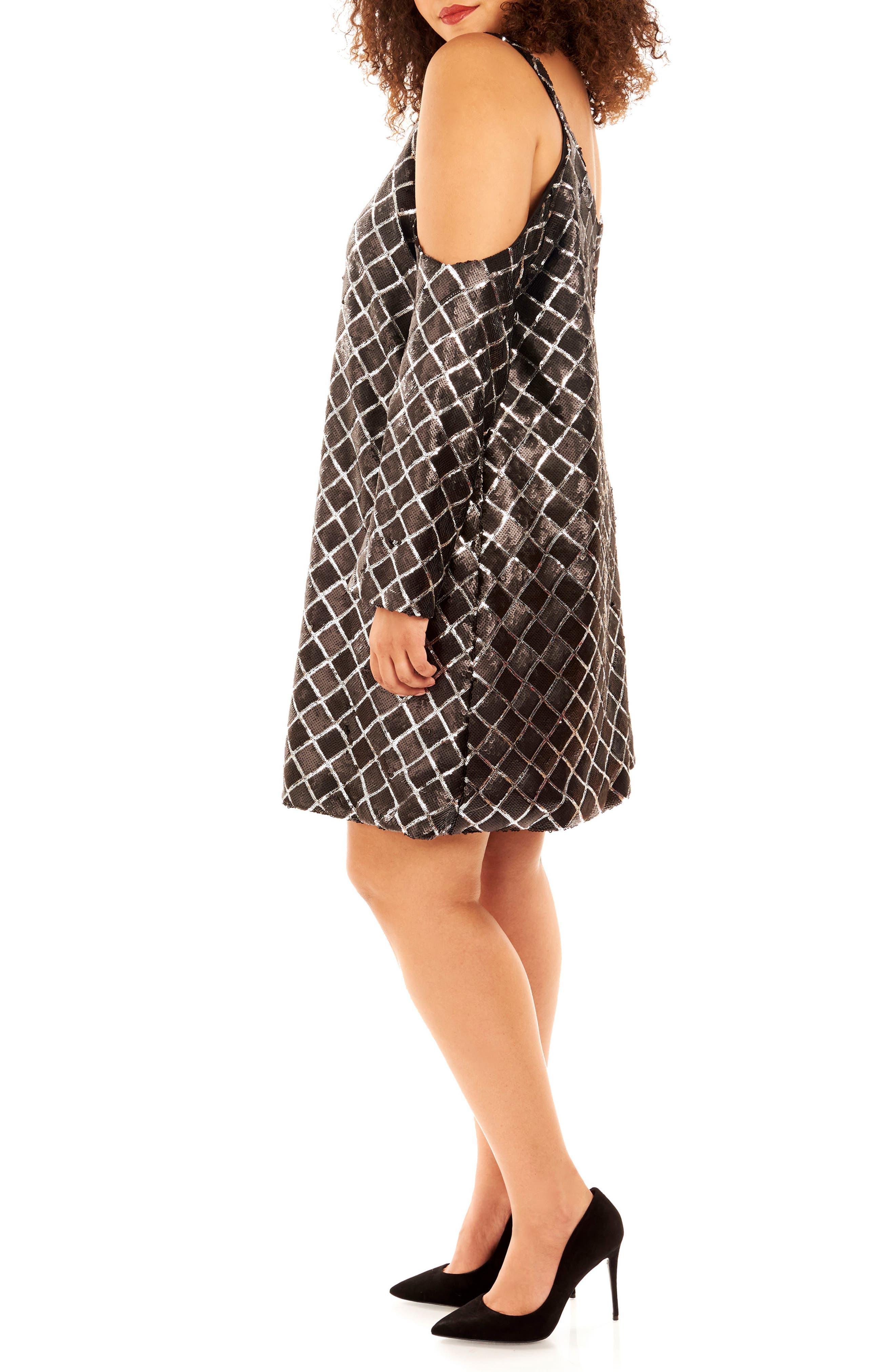 Cold Shoulder Sequin Dress,                             Alternate thumbnail 3, color,                             019