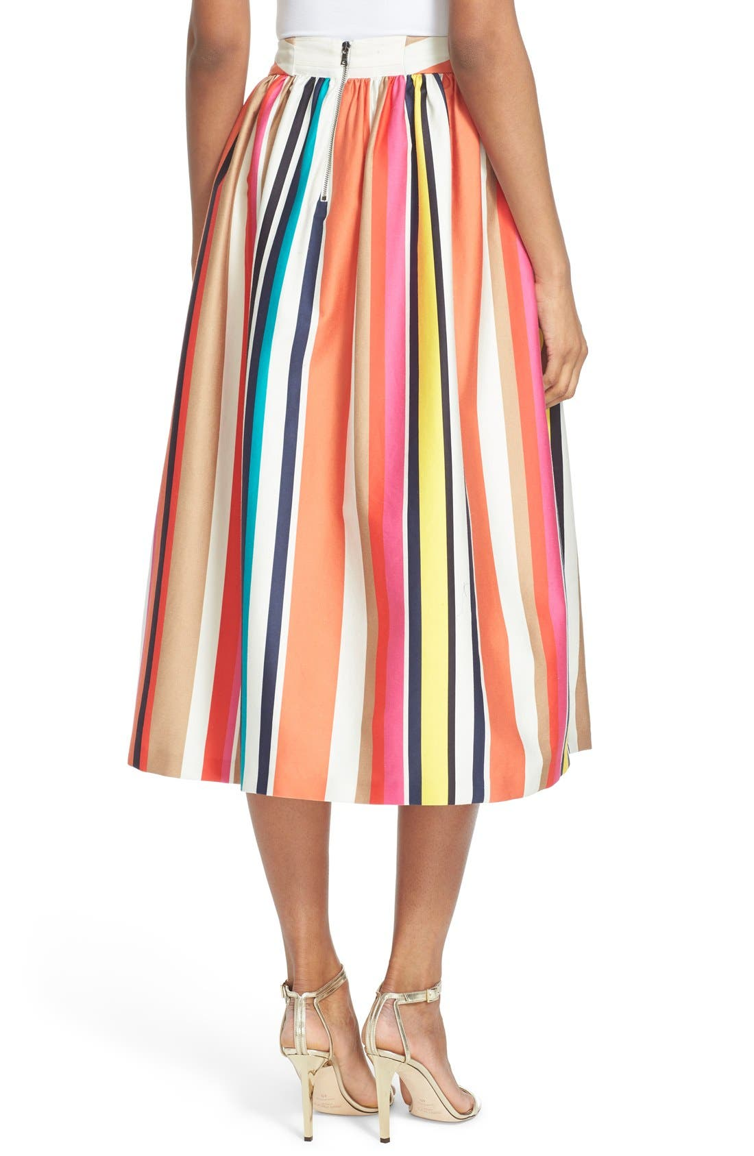 'Nikola' Stripe Midi Skirt,                             Alternate thumbnail 2, color,                             615