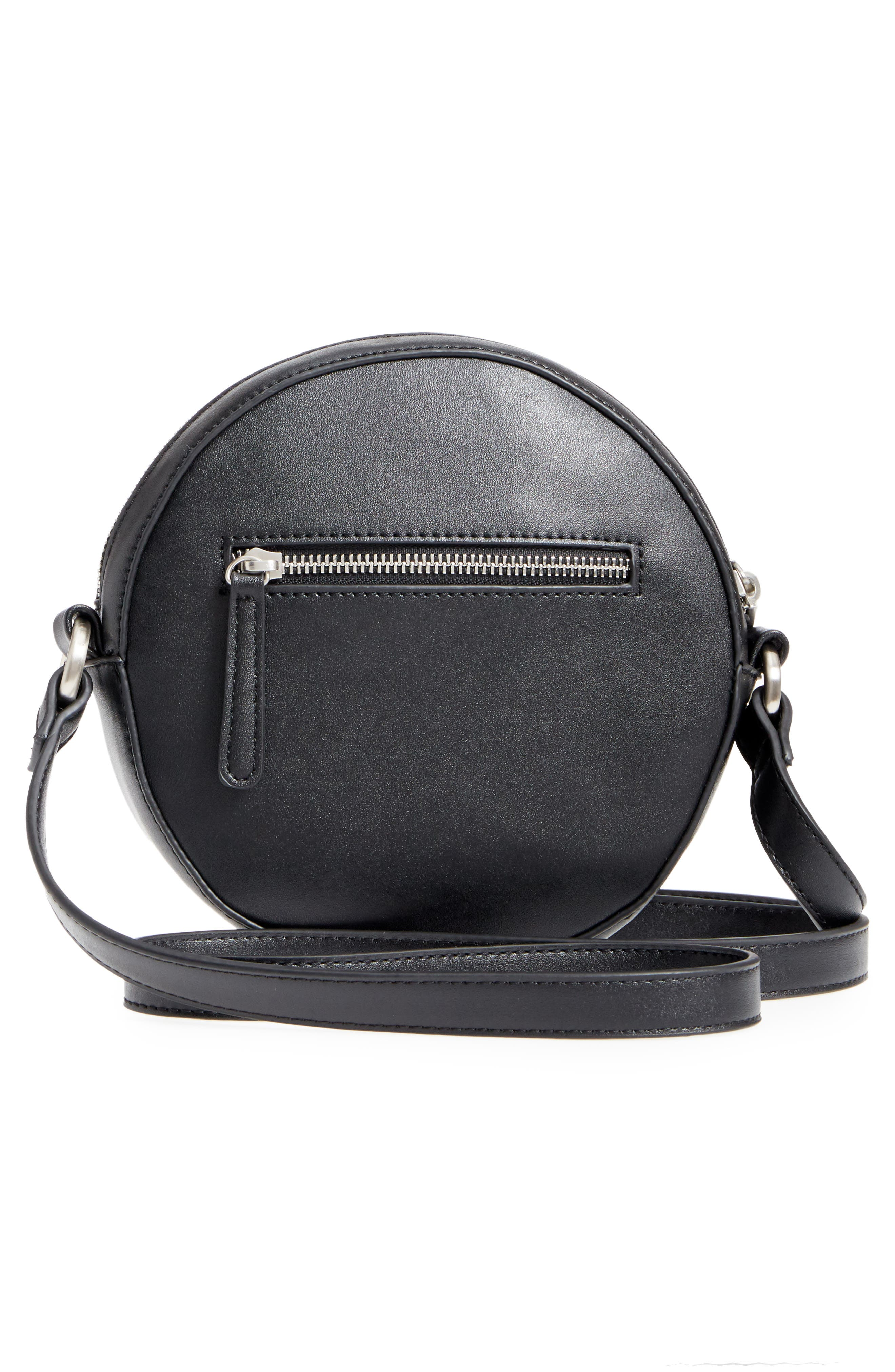 Faux Leather Canteen Crossbody Bag,                             Alternate thumbnail 3, color,                             001
