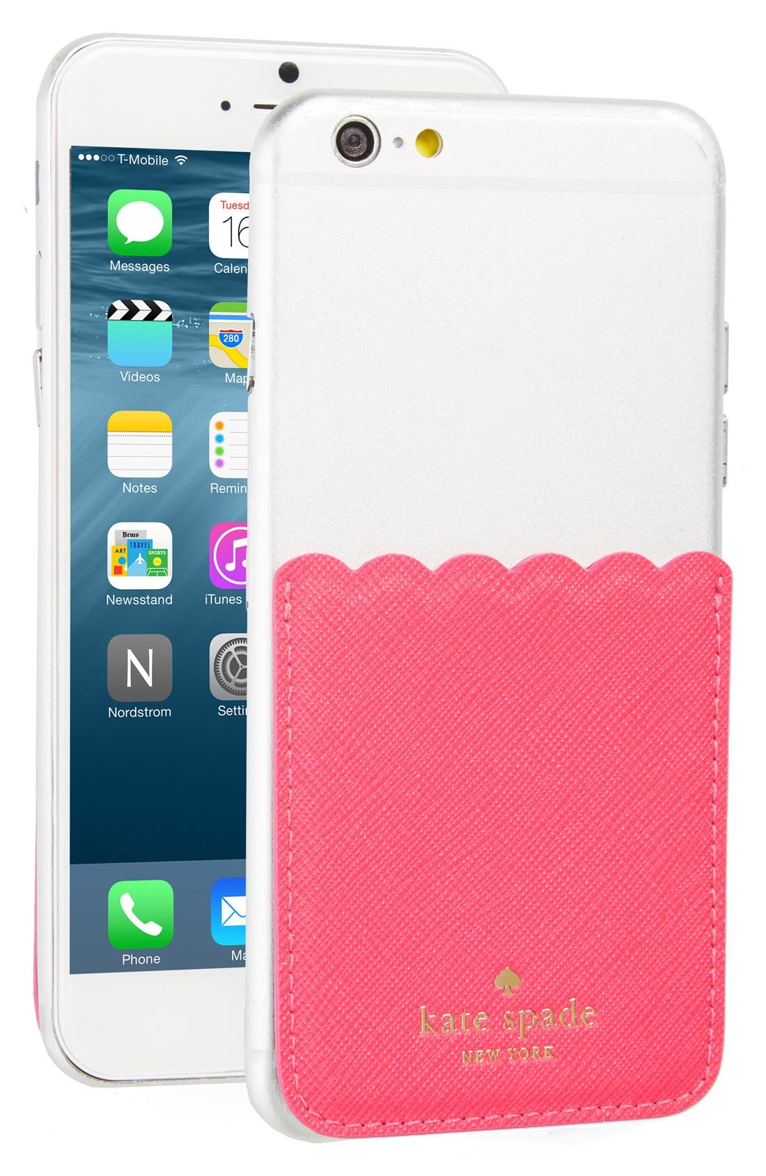 scallop leather stick-on smartphone case pocket,                             Main thumbnail 8, color,