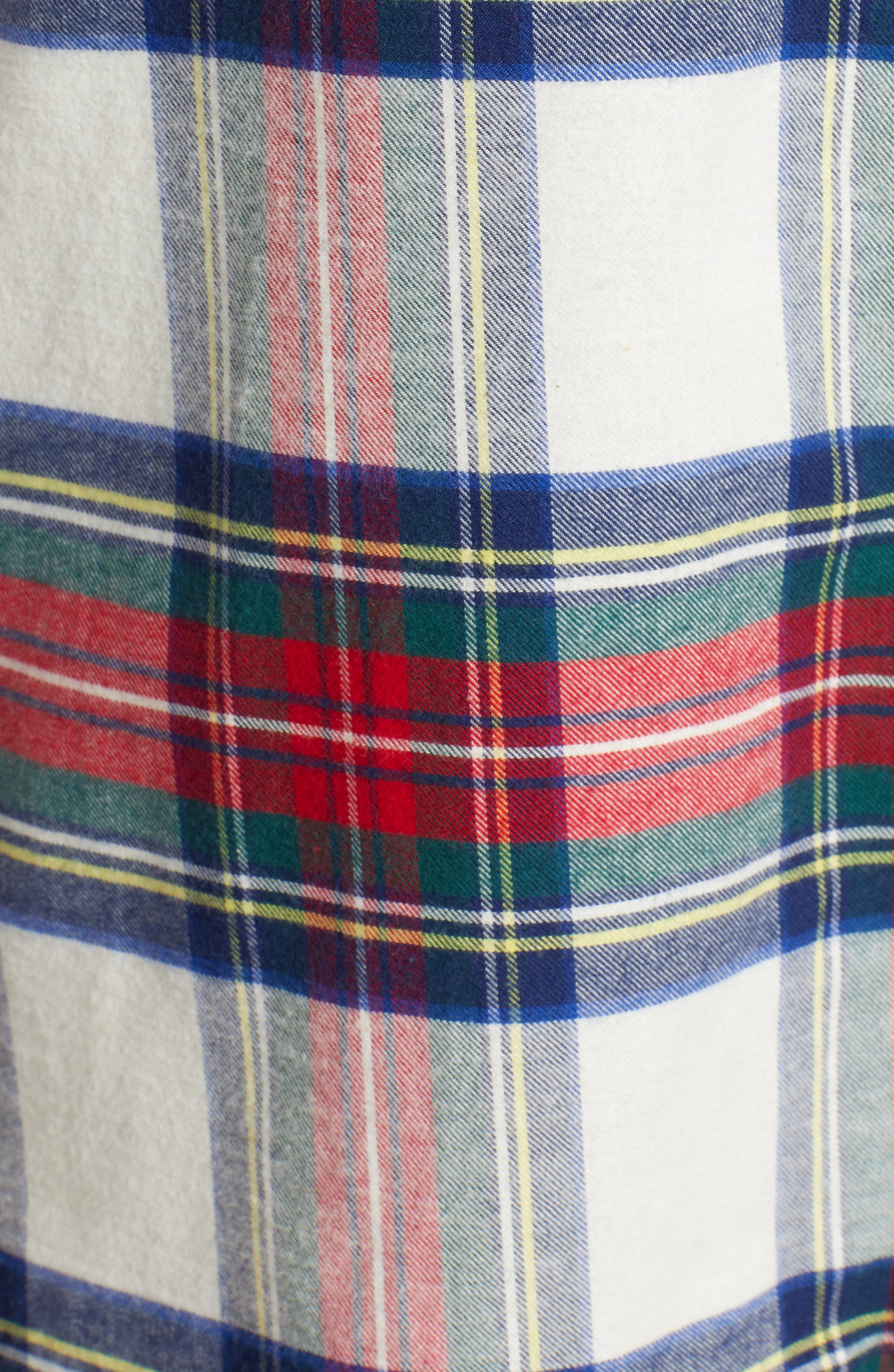 Jolly Plaid Flannel Pajama Shirt,                             Alternate thumbnail 6, color,                             FROST
