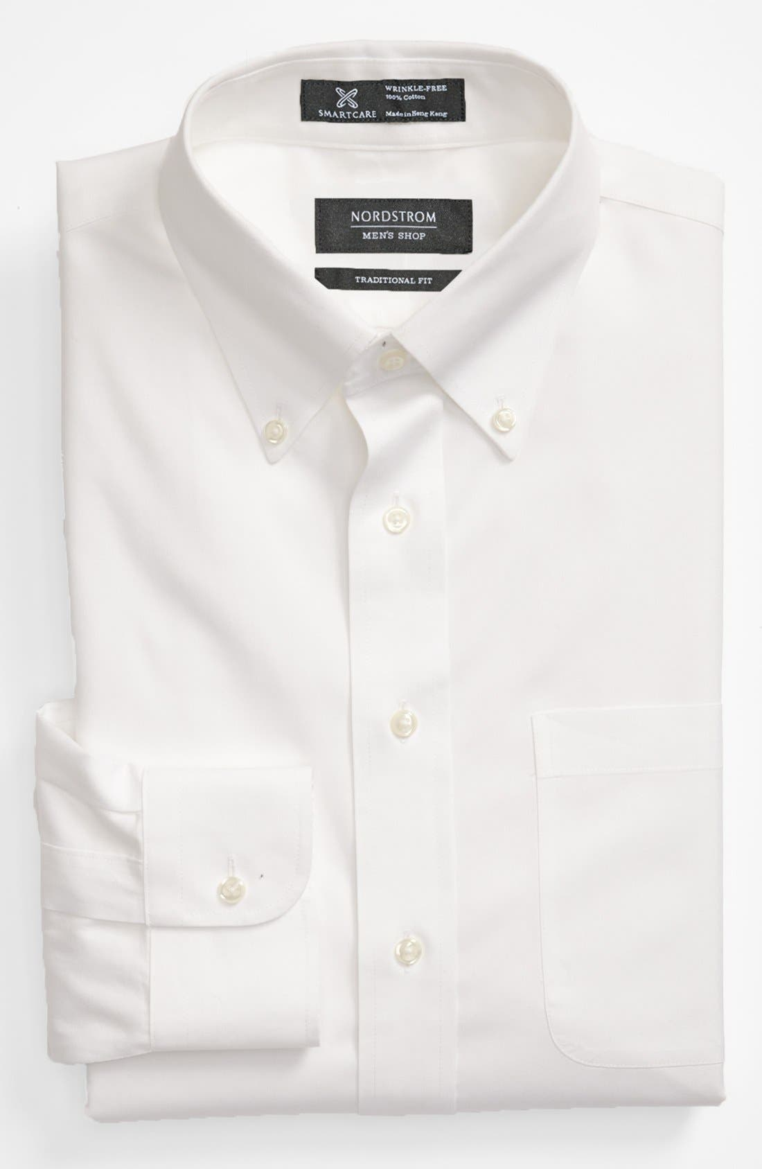 Smartcare<sup>™</sup> Traditional Fit Pinpoint Dress Shirt,                             Main thumbnail 1, color,                             WHITE