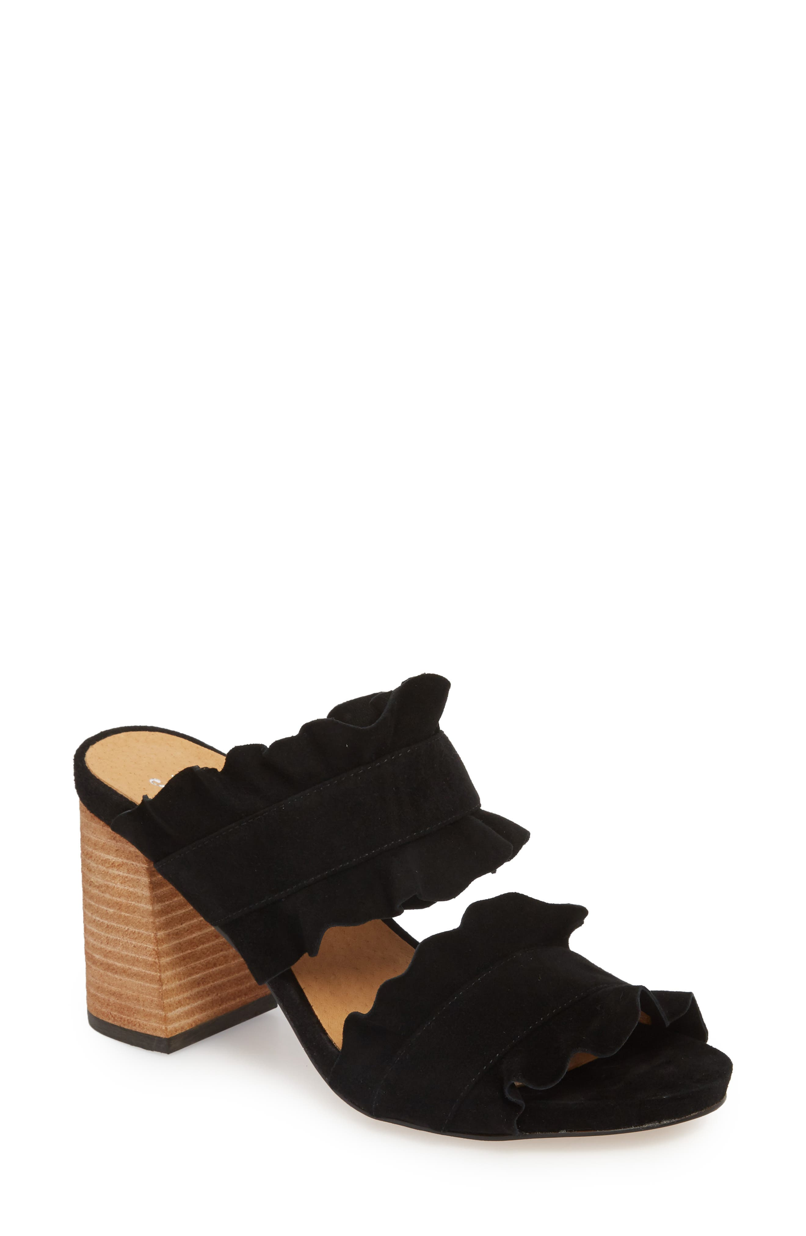 Rosie Ruffle Slide Sandal,                         Main,                         color, BLACK