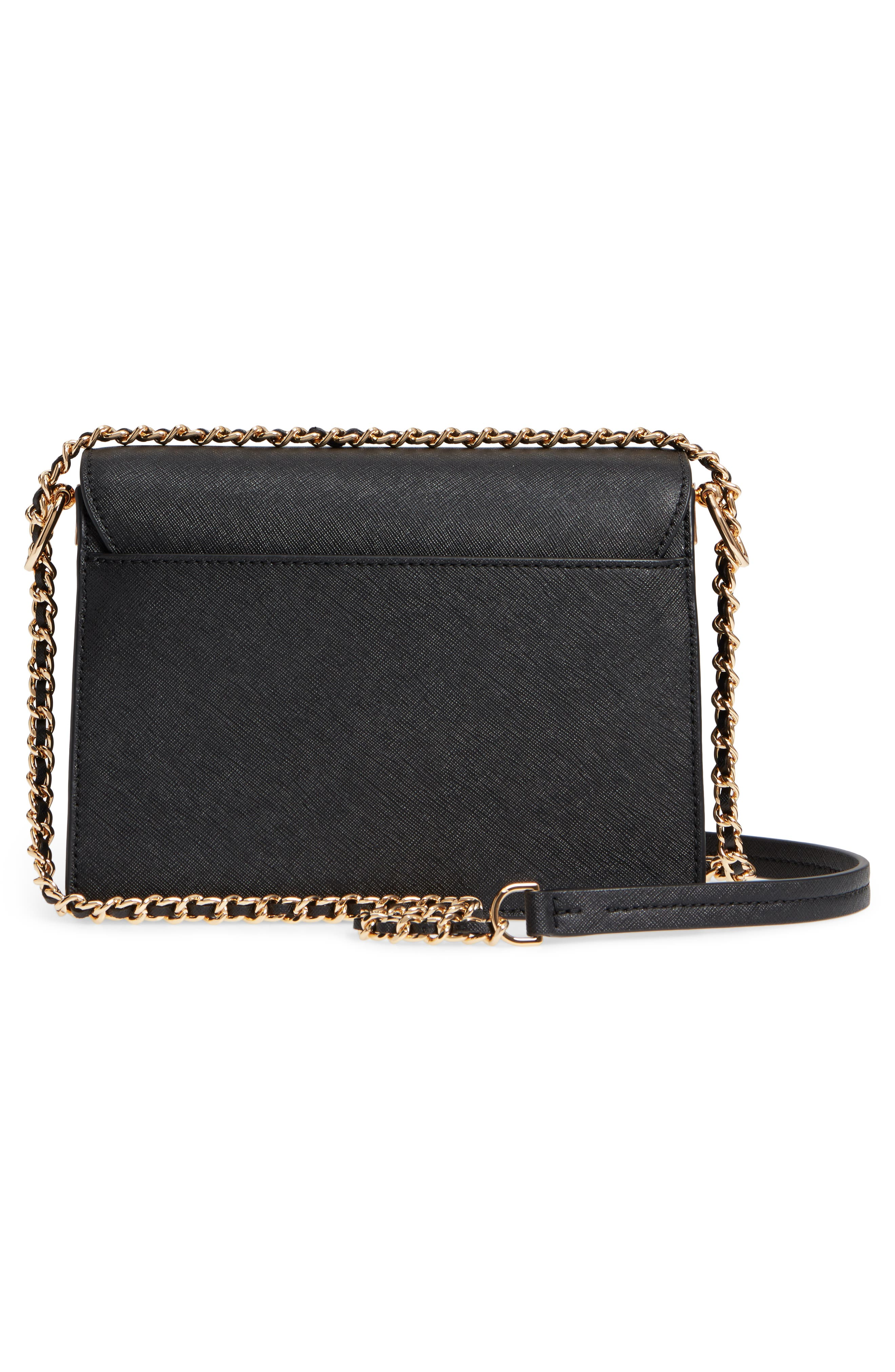 Robinson Convertible Leather Shoulder Bag,                             Alternate thumbnail 3, color,                             BLACK / ROYAL NAVY