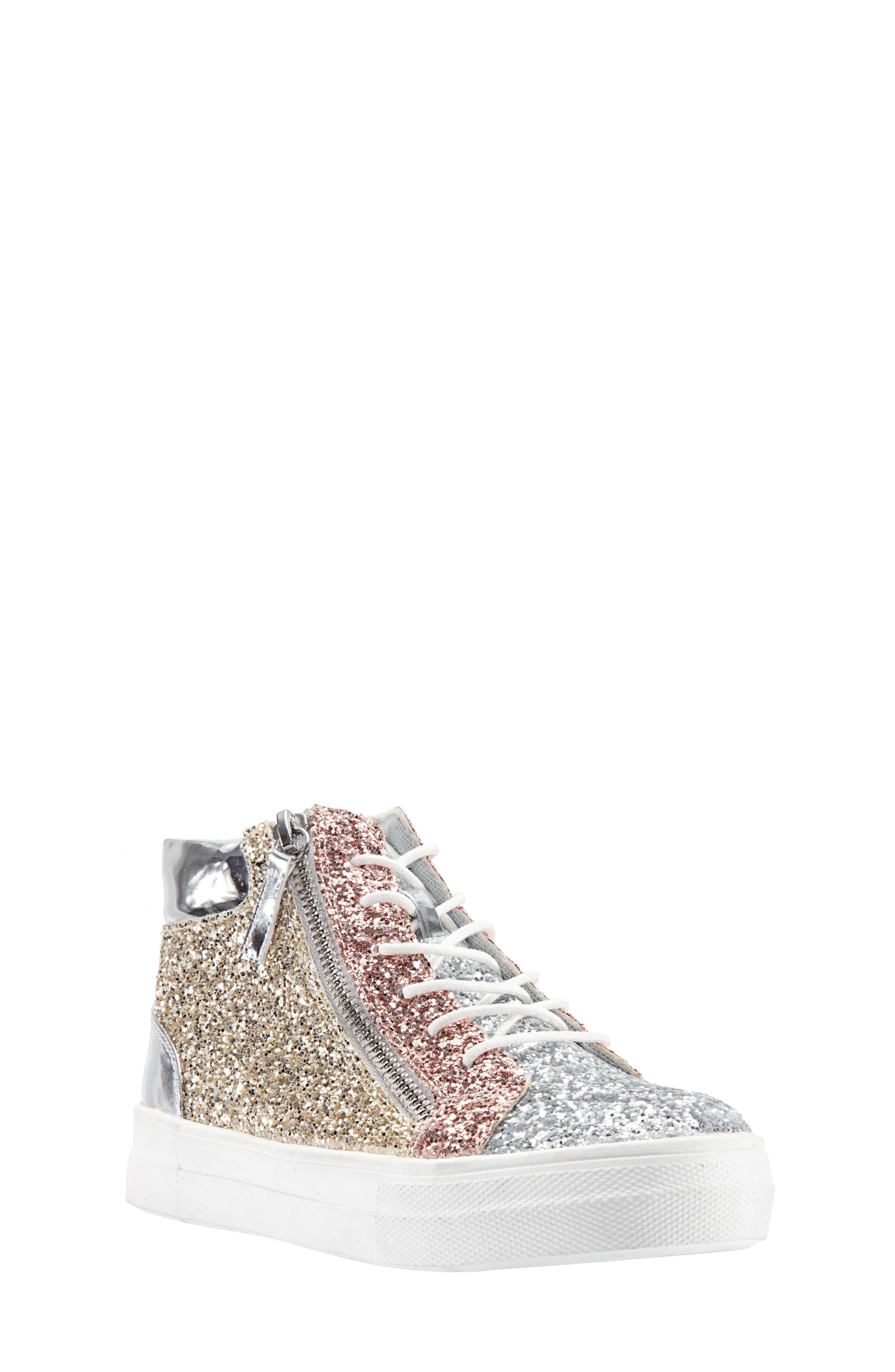 Hylda Glitter High Top Sneaker,                             Main thumbnail 1, color,                             SILVER MULTI GLITTER/ PATENT