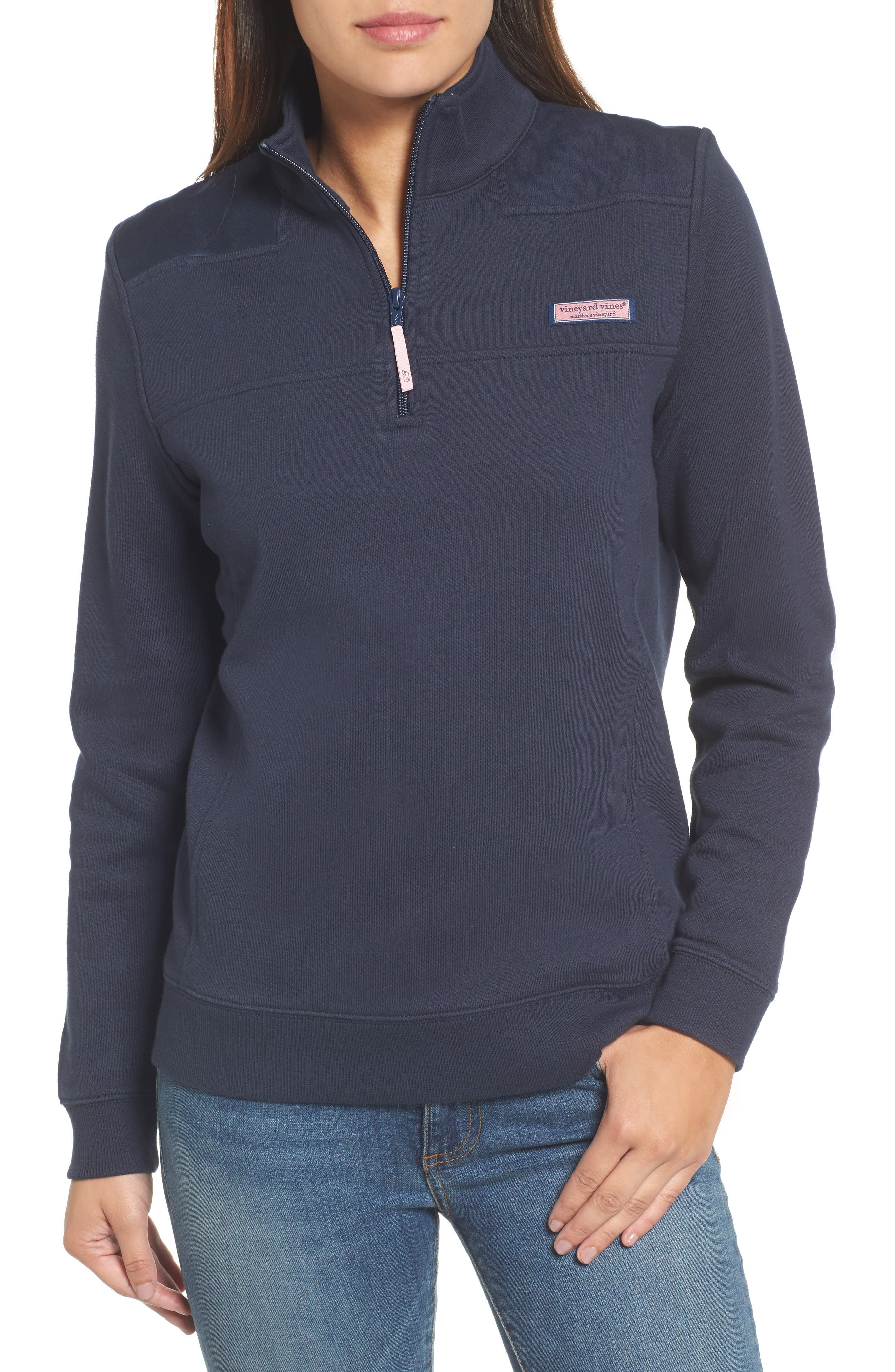 Shep Half Zip French Terry Pullover,                         Main,                         color, VINEYARD NAVY