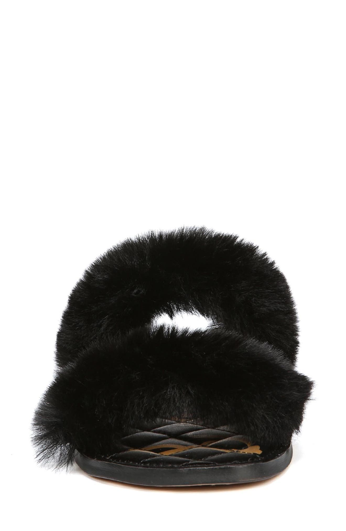 Griselda Faux Fur Slide Sandal,                             Alternate thumbnail 4, color,                             BLACK FAUX FUR