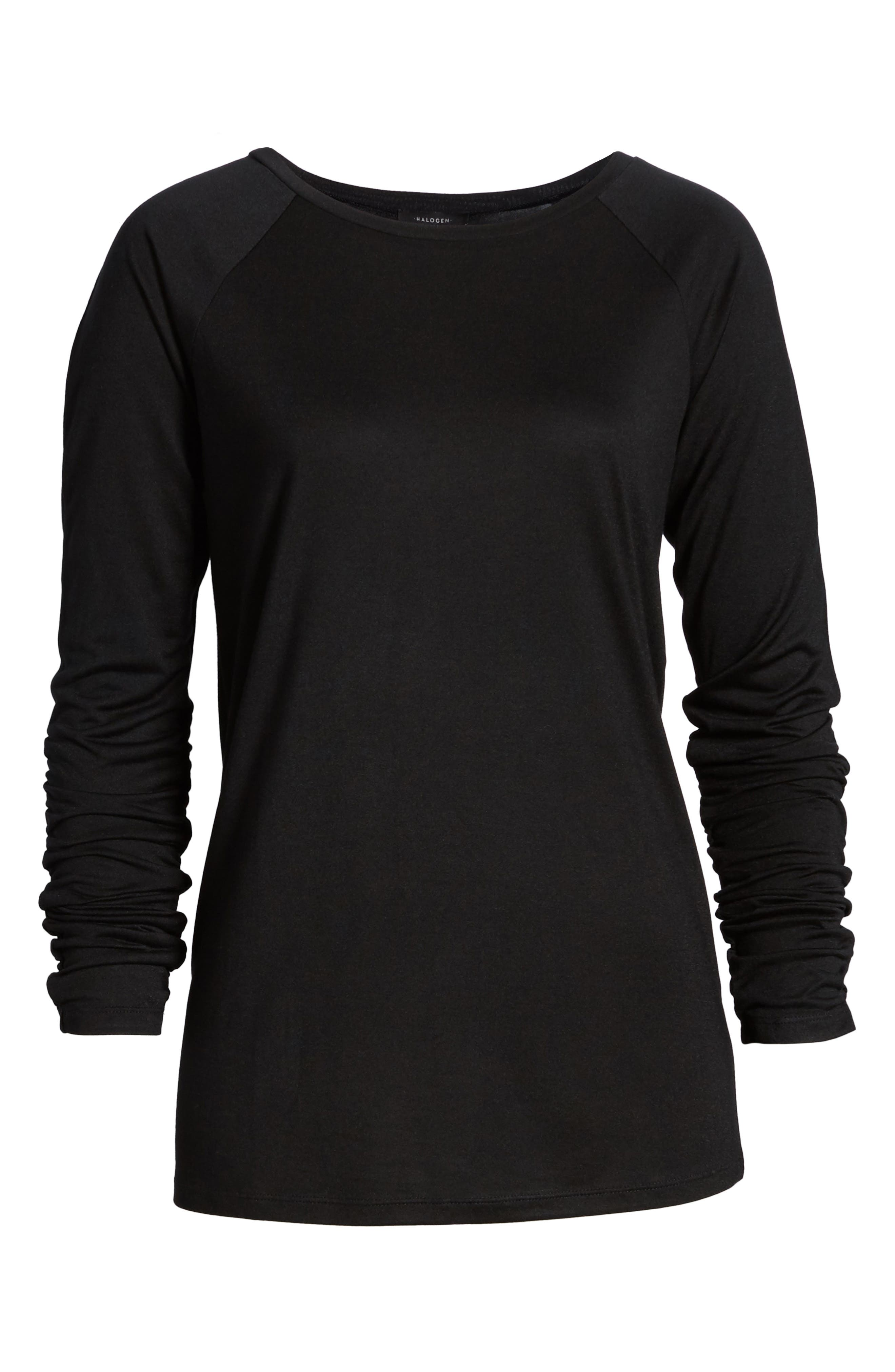 Ruched Sleeve Tee,                             Alternate thumbnail 6, color,                             001
