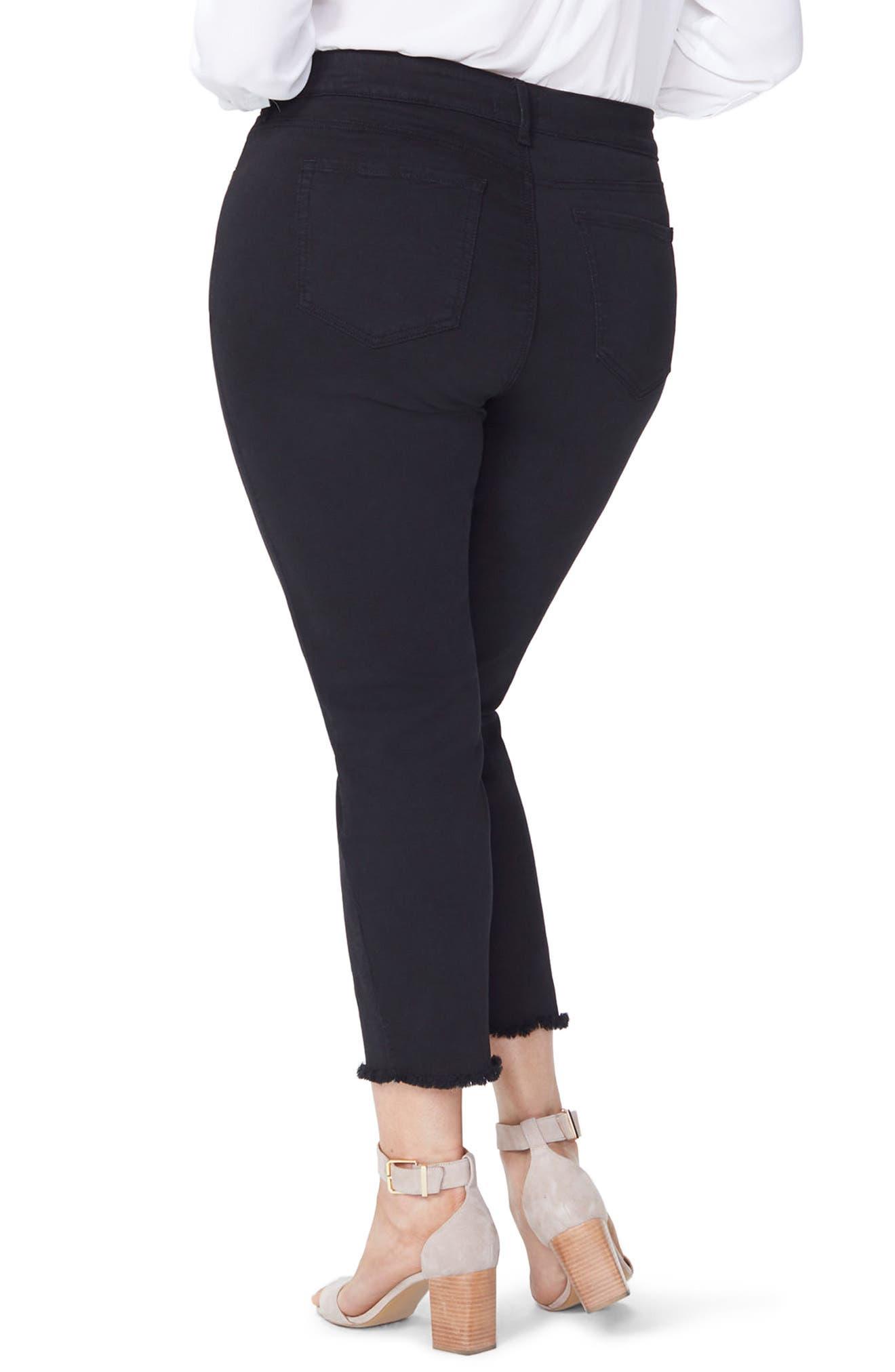 Sheri High Rise Fray Hem Stretch Slim Ankle Jeans,                             Alternate thumbnail 2, color,                             BLACK