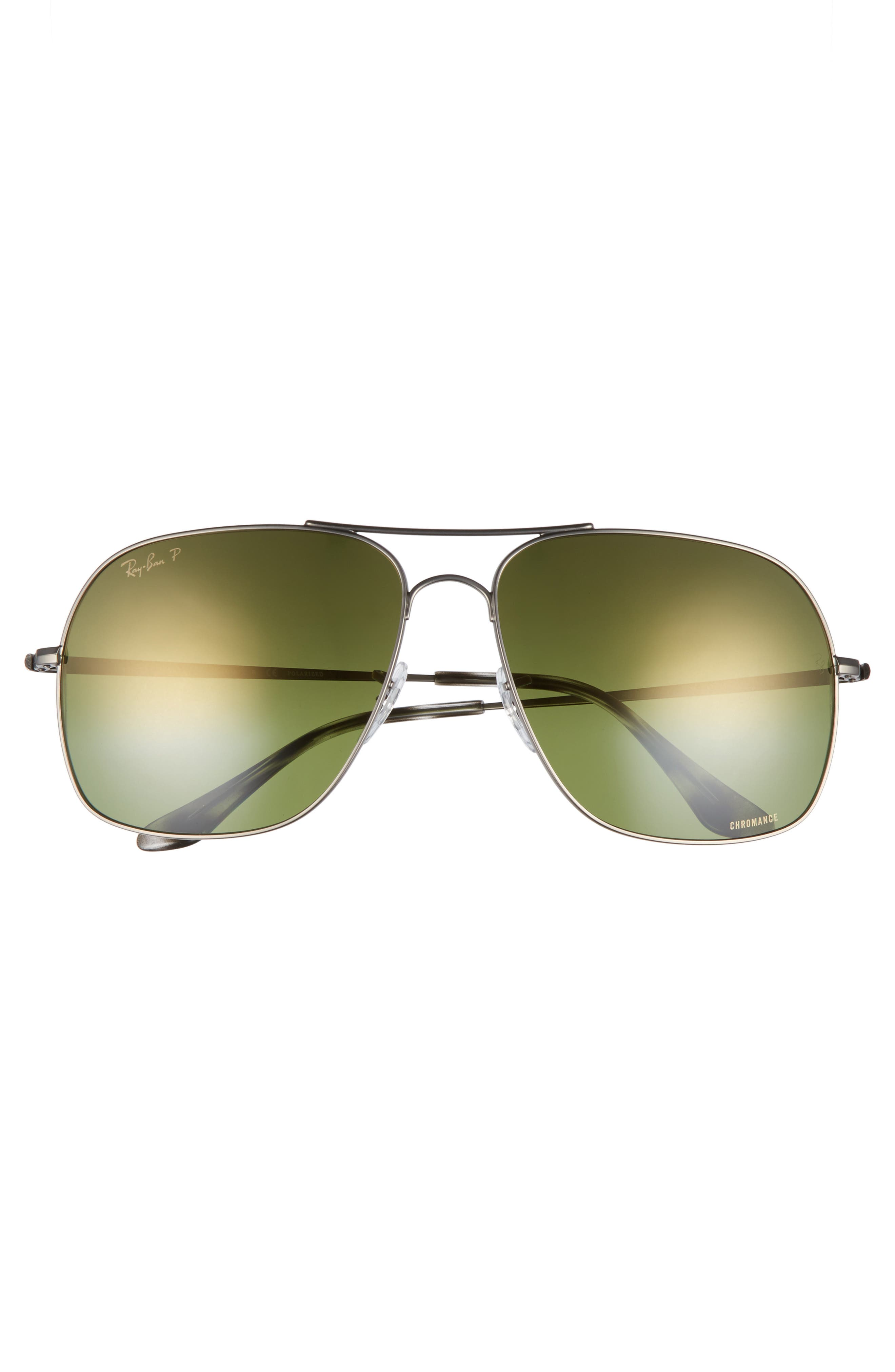 Chromance 61mm Double Bridge Aviator Sunglasses,                             Alternate thumbnail 2, color,                             GUNMETAL/ GREEN