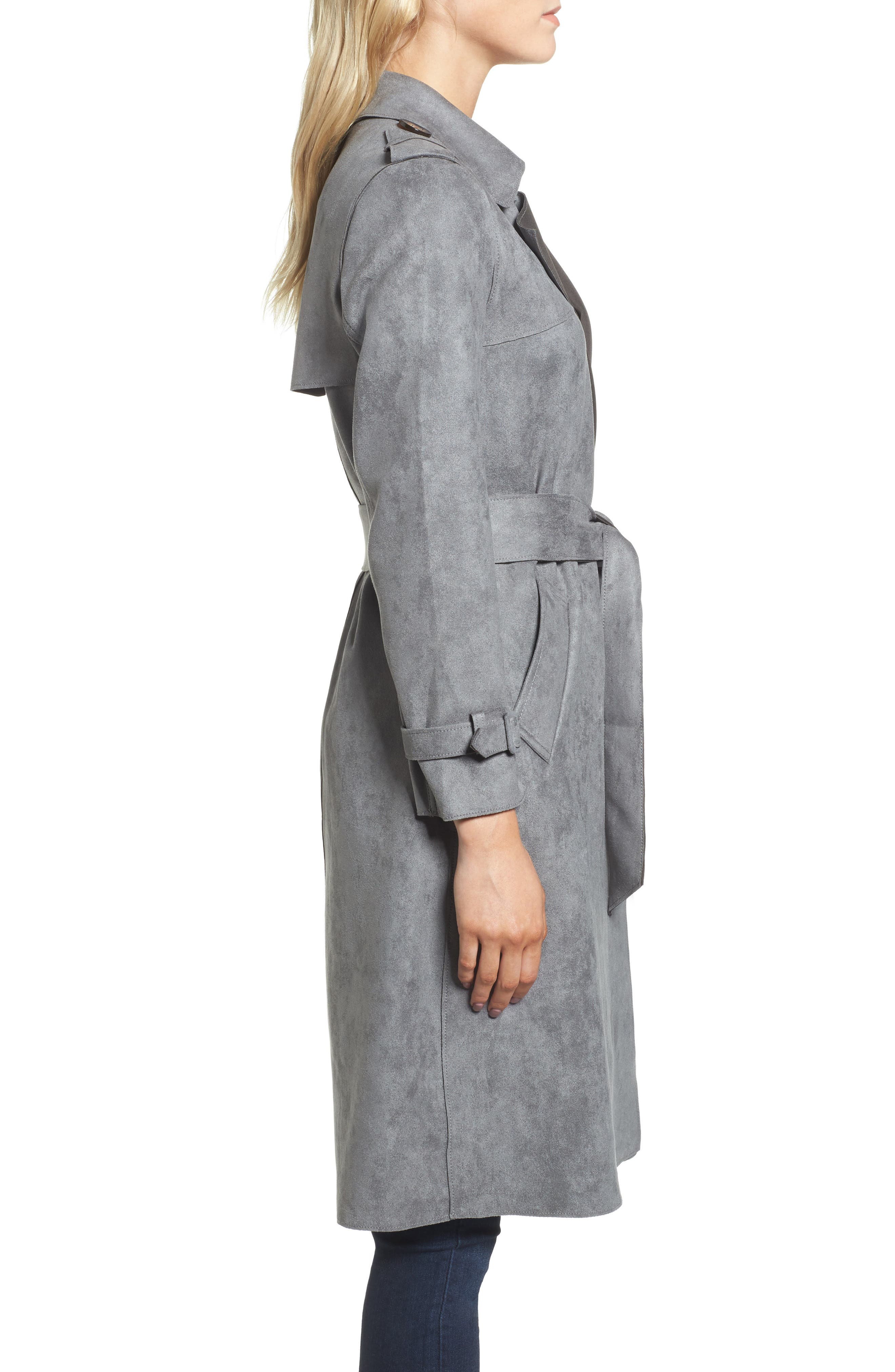 Faux Suede Long Trench Coat,                             Alternate thumbnail 3, color,                             030