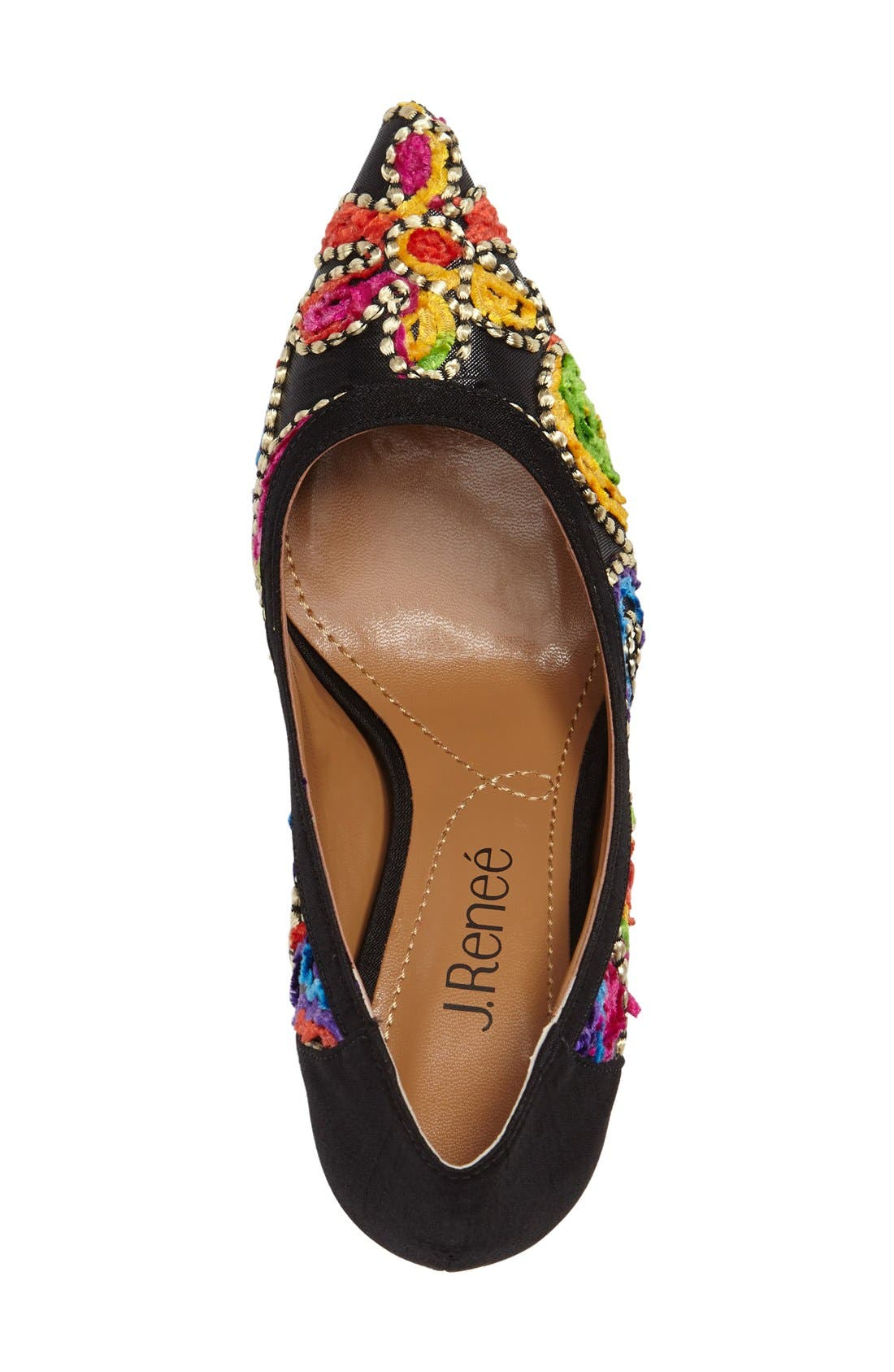 Camall Embroidered Pointy Toe Pump,                             Alternate thumbnail 3, color,                             002
