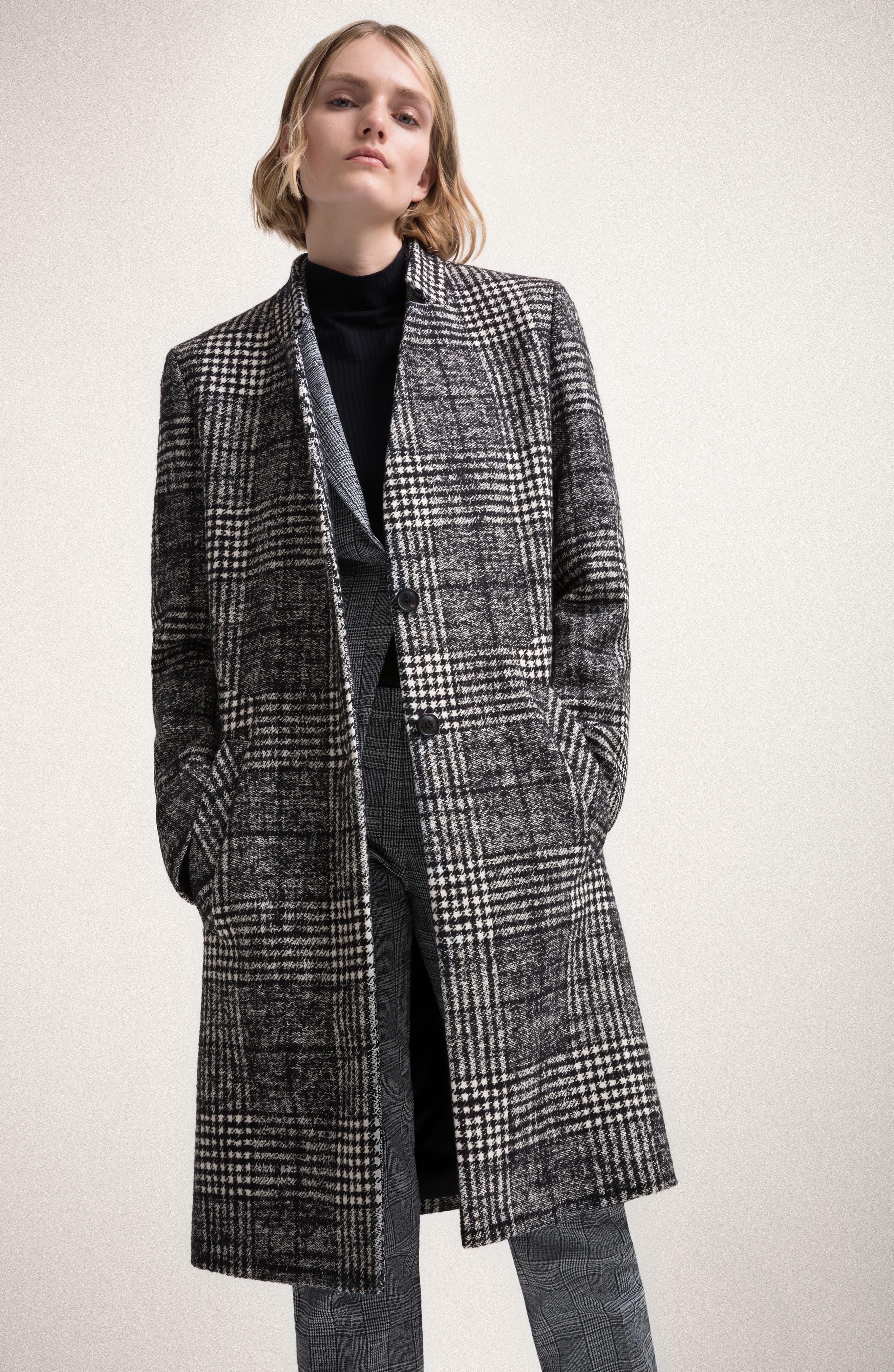 Magrete Bold Check Stretch Cotton Wool Coat,                             Alternate thumbnail 7, color,                             BLACK/ WHITE