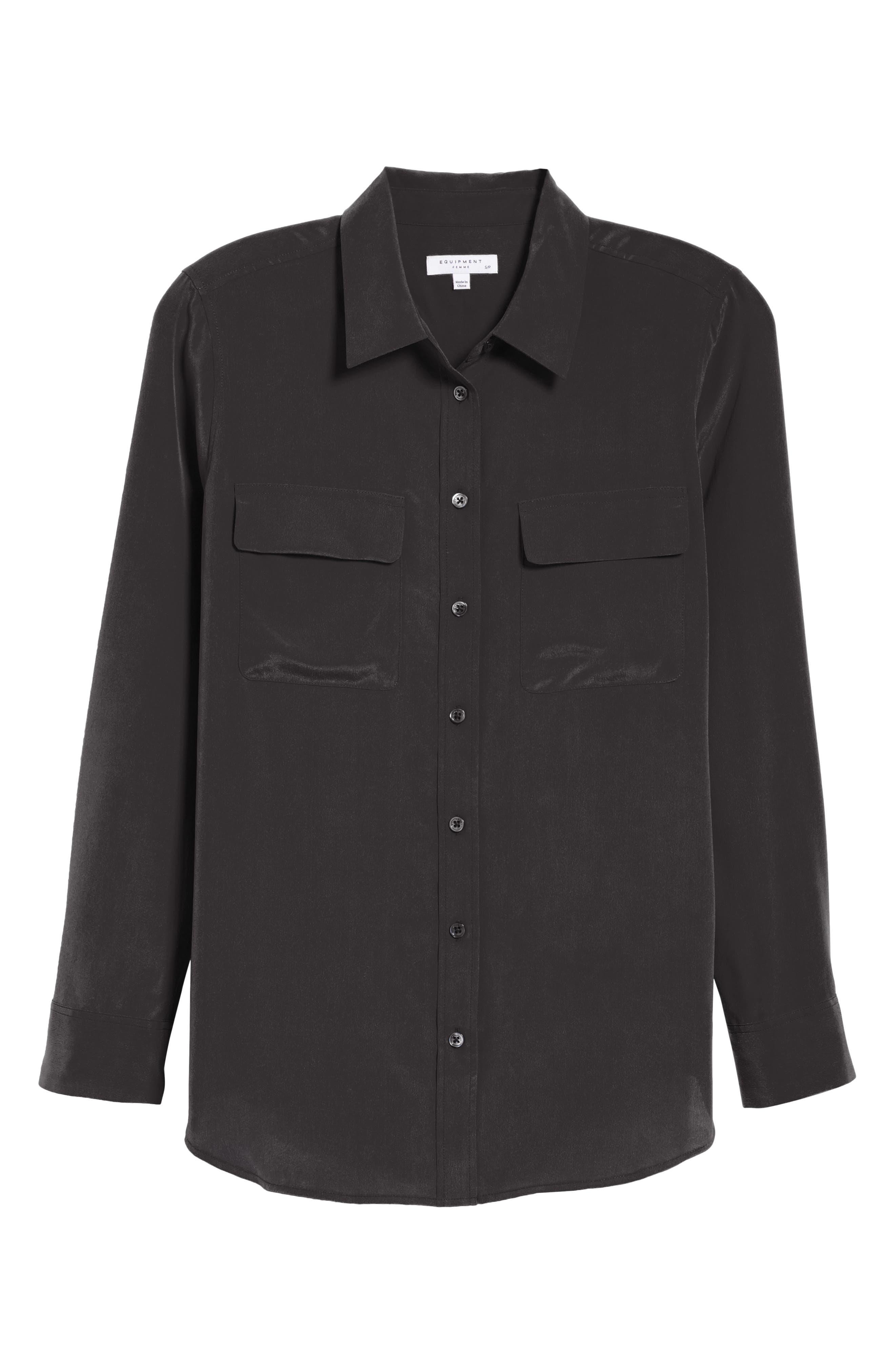 'Slim Signature' Silk Shirt,                             Alternate thumbnail 2, color,                             TRUE BLACK