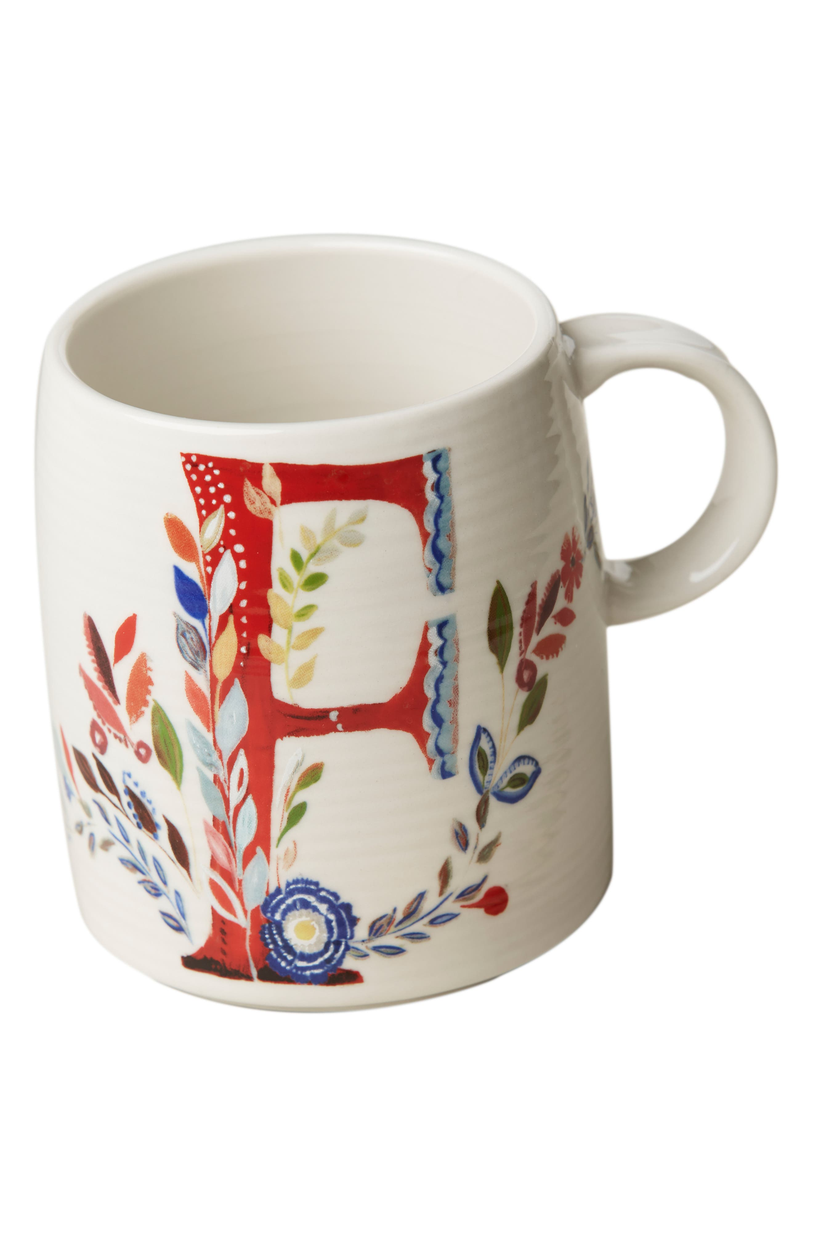 ANTHROPOLOGIE,                             Petal Palette Monogram Mug,                             Alternate thumbnail 3, color,                             PINK - F