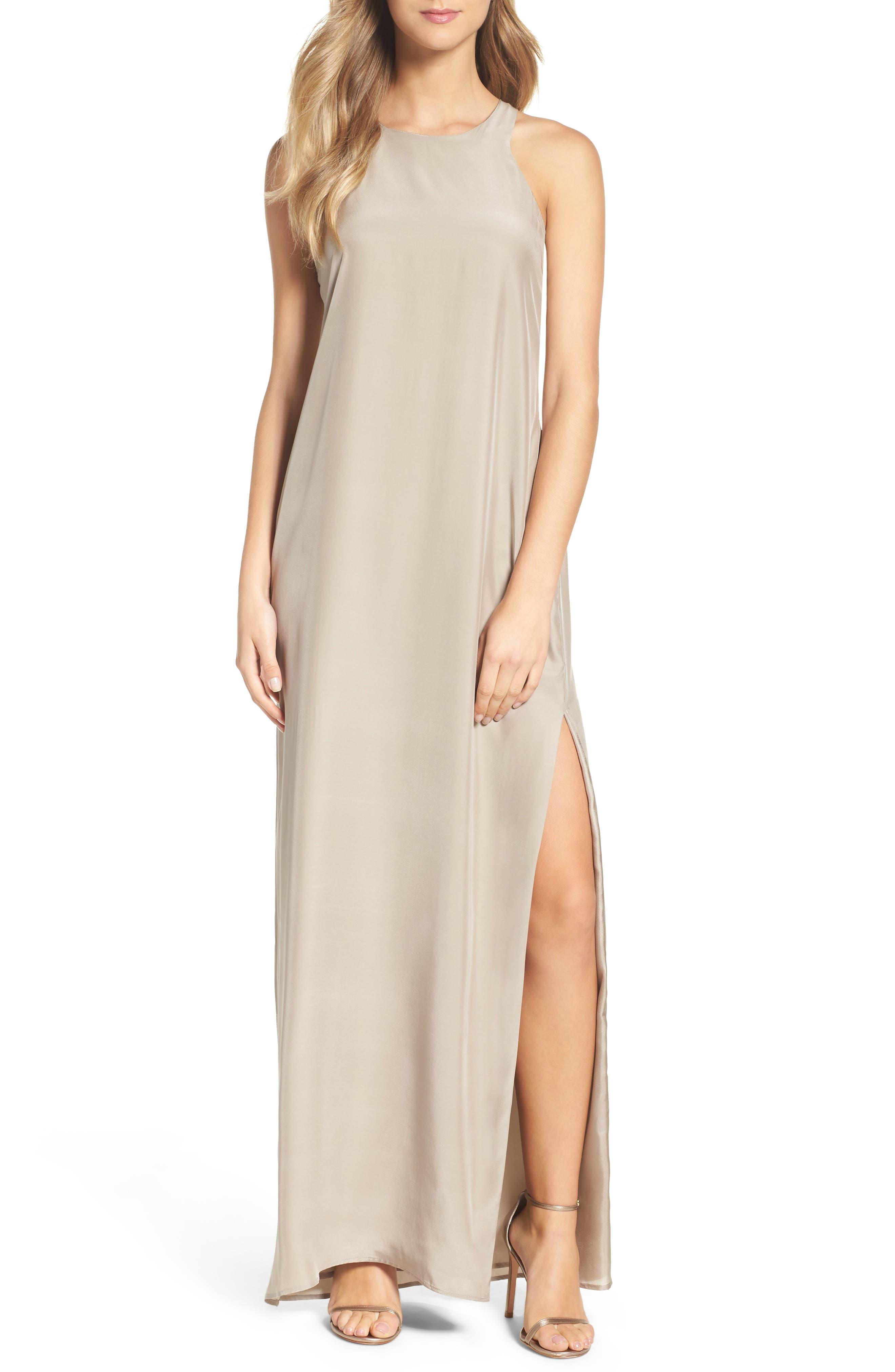Silk Column Gown,                         Main,                         color, 260