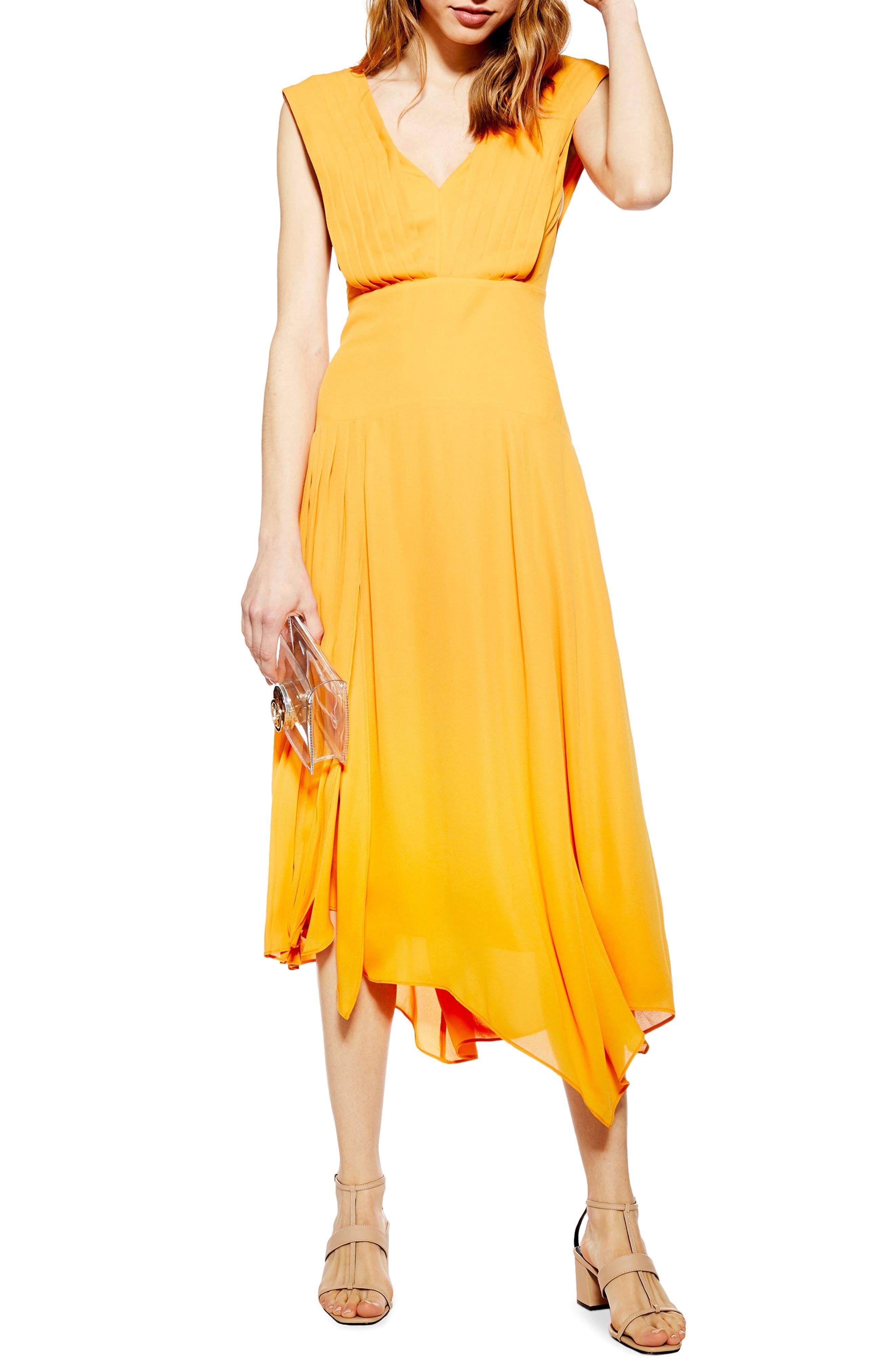 Topshop Pleated Pinafore Midi Dress, US (fits like 0) - Yellow