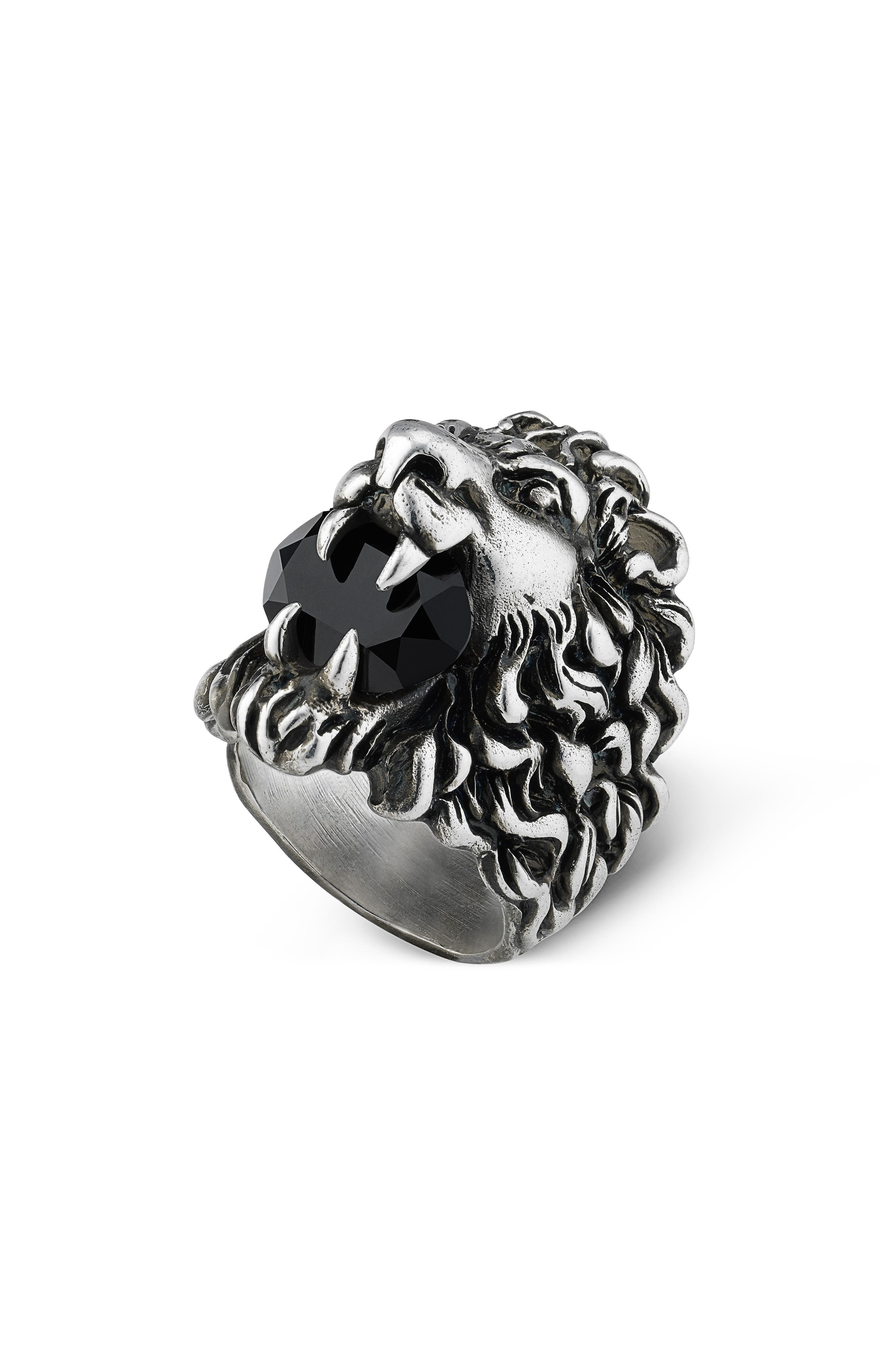 Lion Head Aureco Crystal Ring in Silver