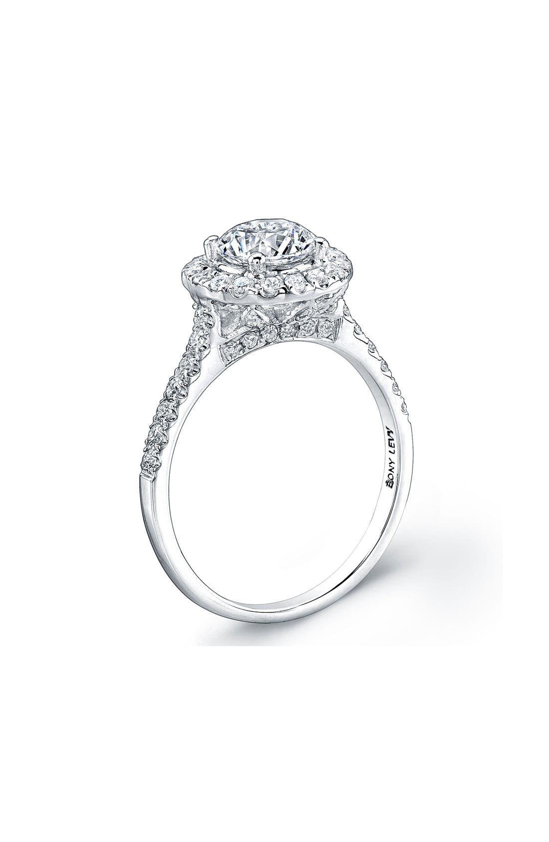 Pavé Diamond Leaf Engagement Ring Setting,                             Alternate thumbnail 4, color,                             WHITE GOLD