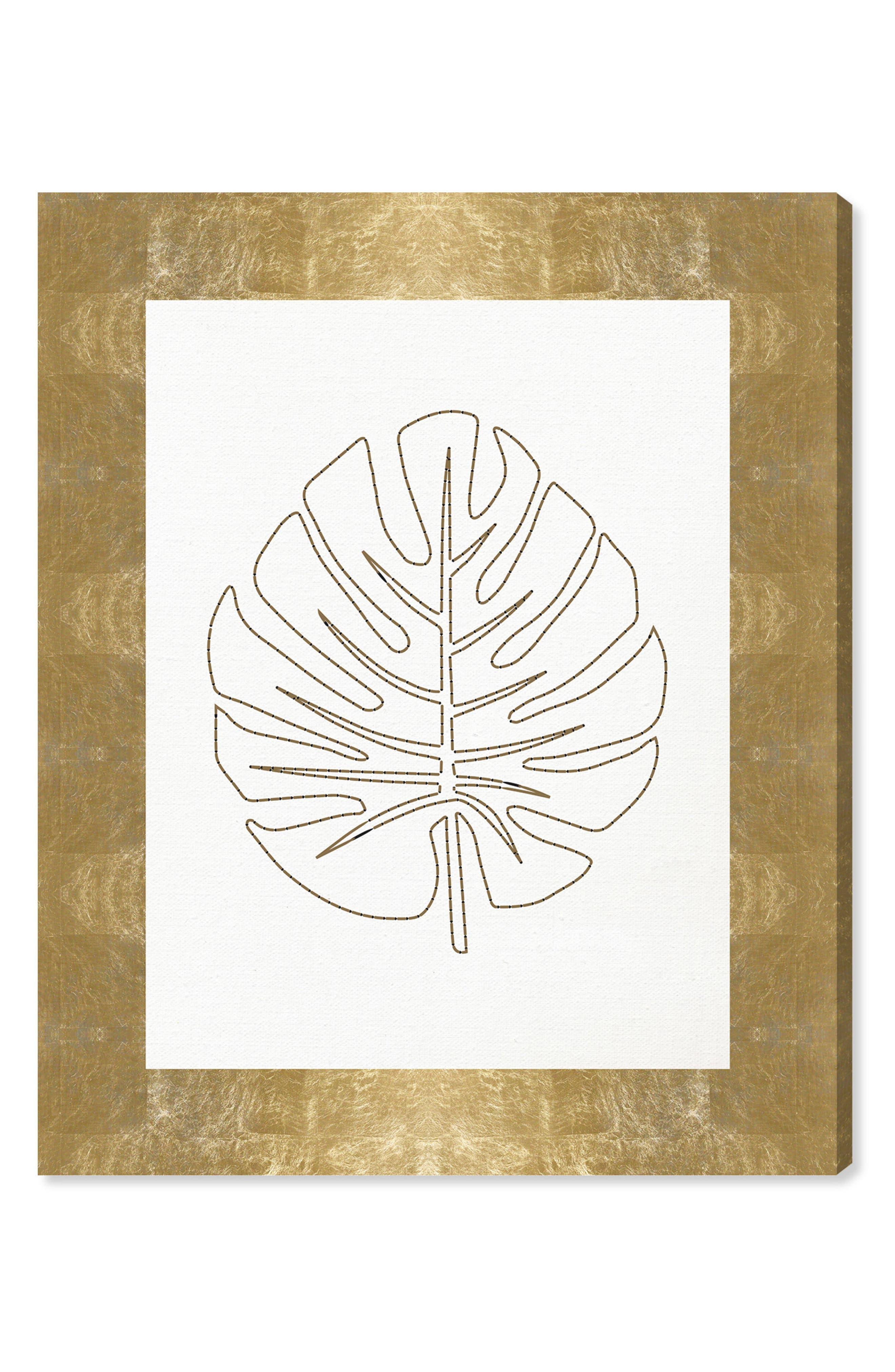 Stitched Palm Leaf I Canvas Wall Art,                         Main,                         color, WHITE
