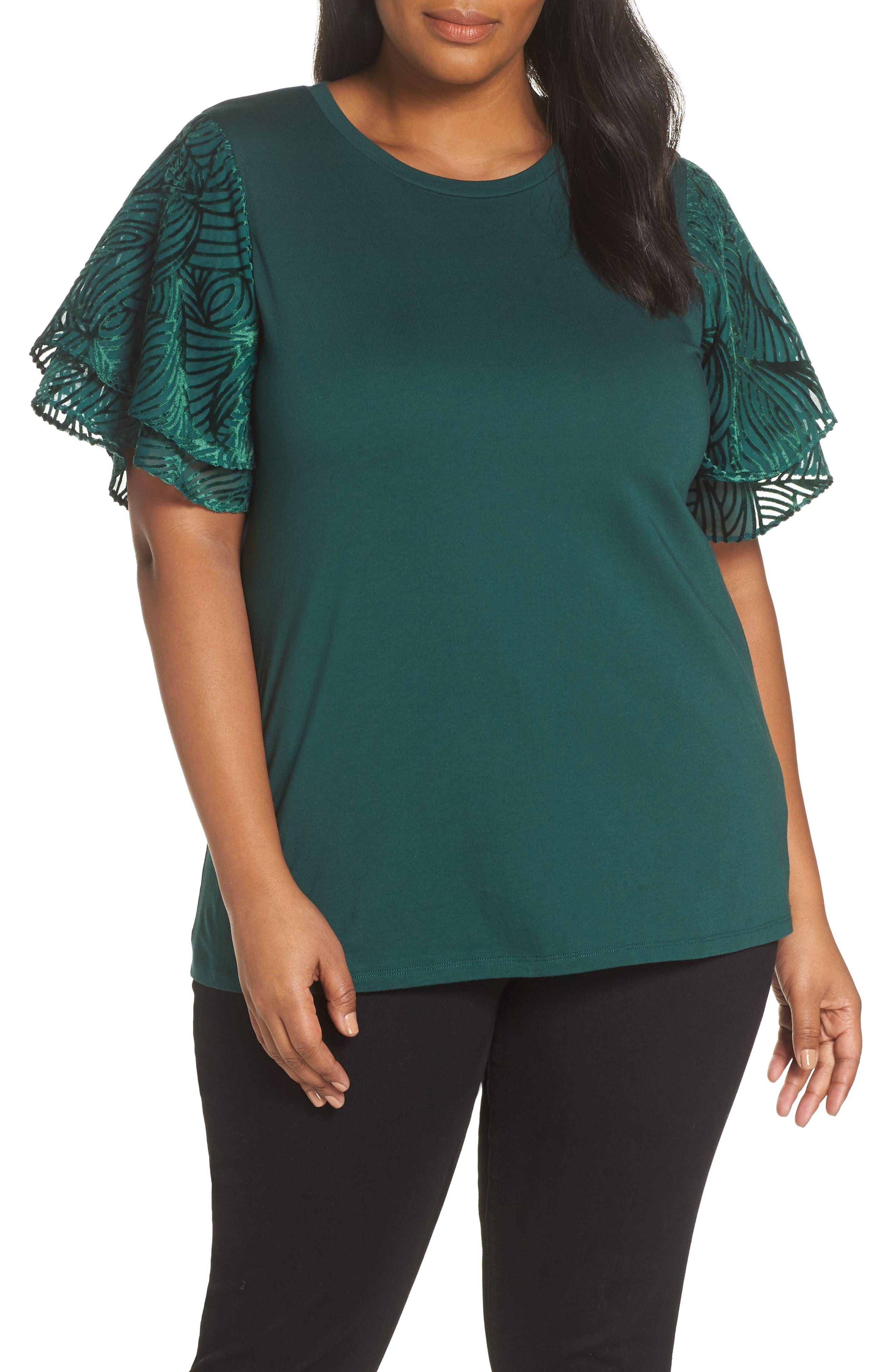 Jacquard Sleeve Top,                         Main,                         color, DARK EMERALD