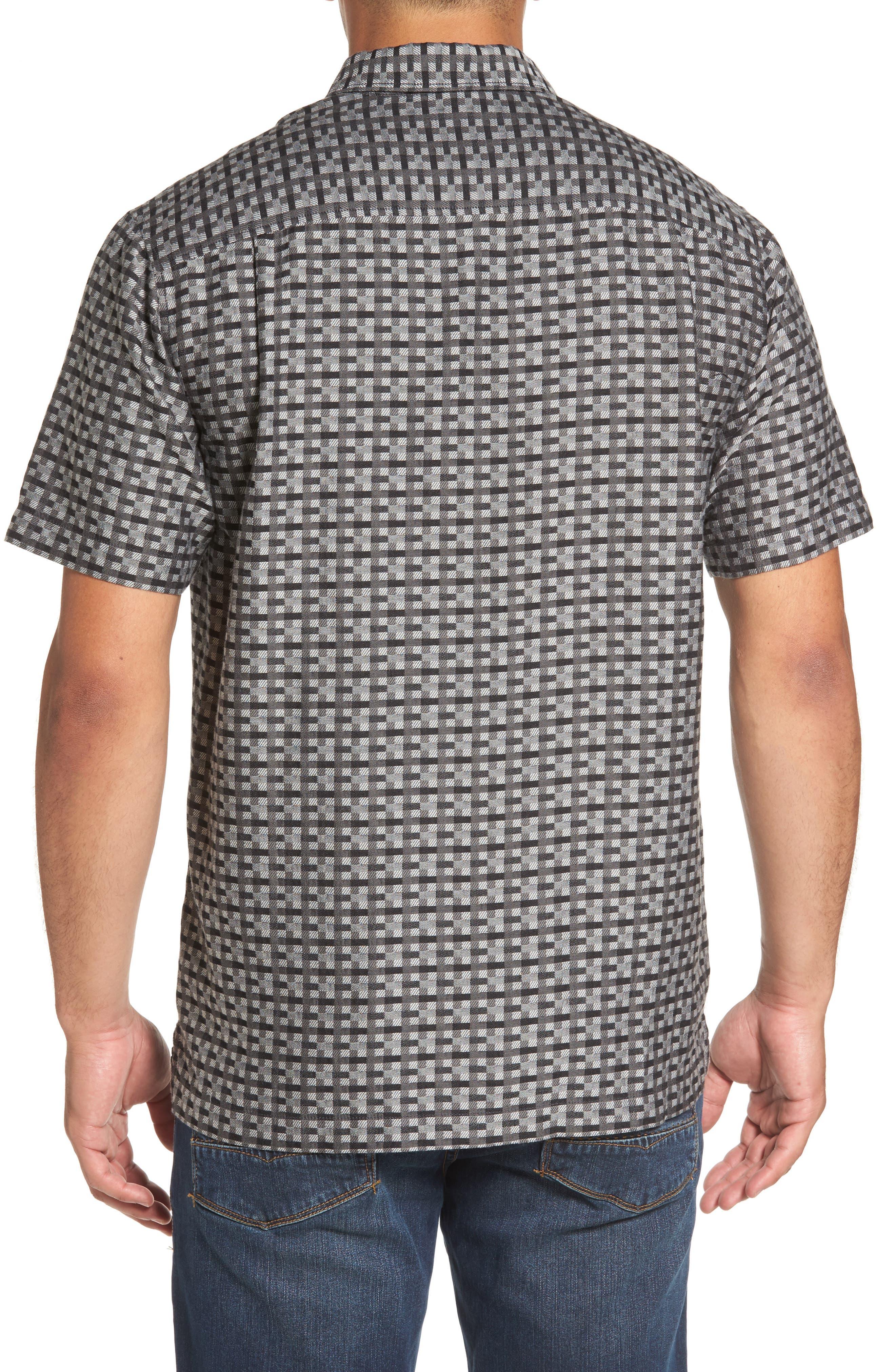 Moroccan Squares Standard Fit Silk Blend Camp Shirt,                             Alternate thumbnail 3, color,