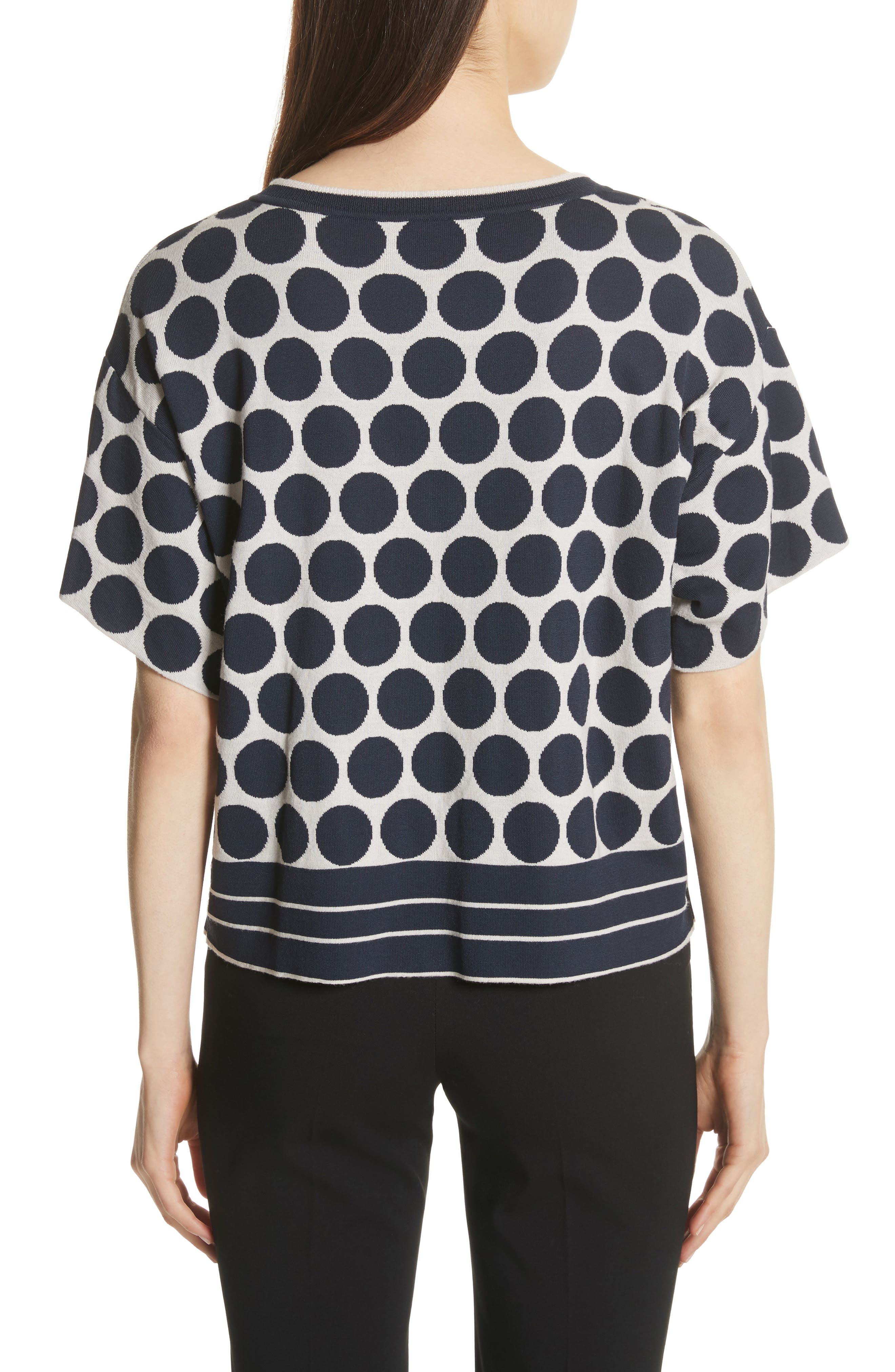 Polka Dot V-Neck Tee,                             Alternate thumbnail 2, color,