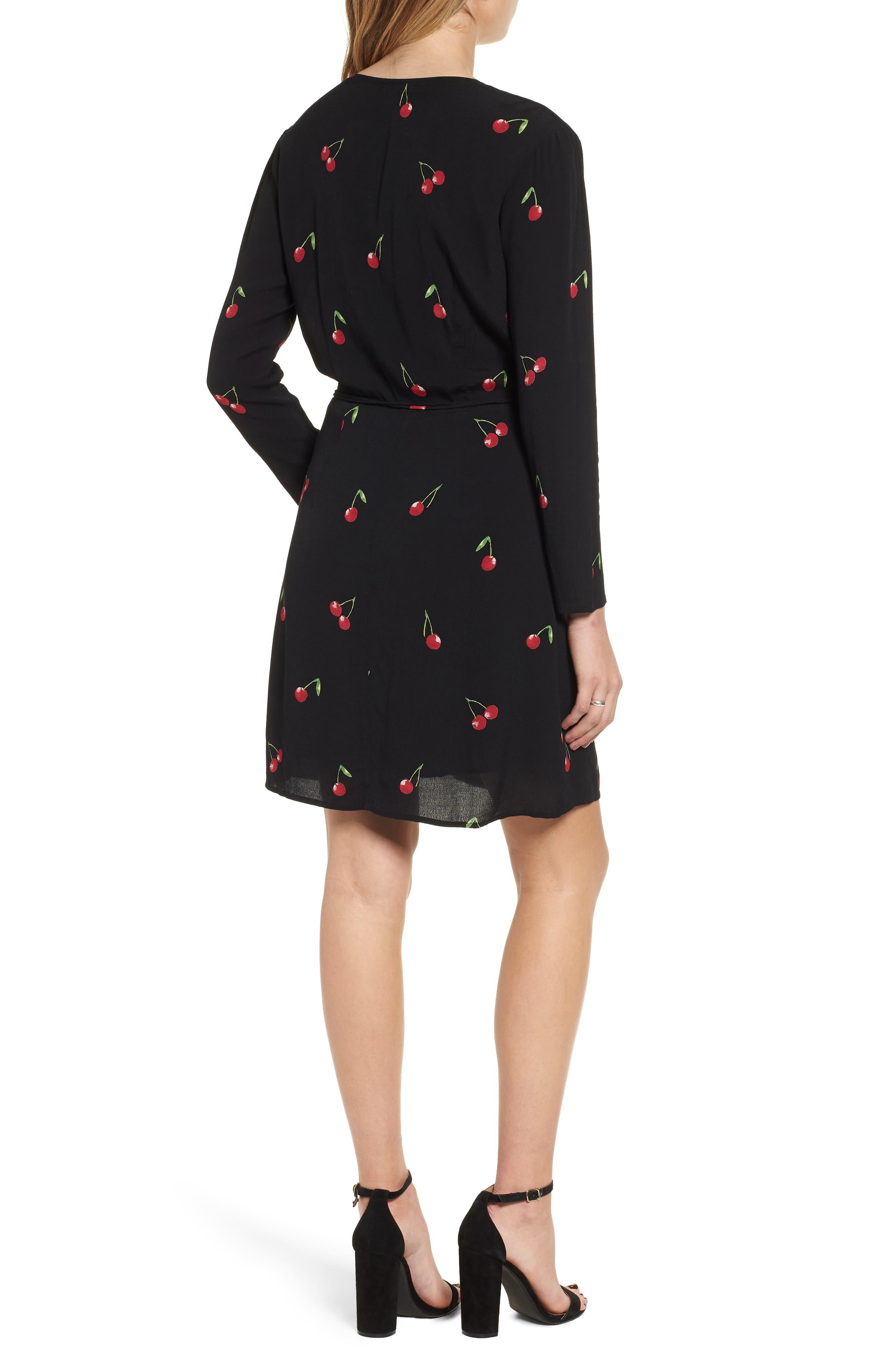 Lola Cherry Print Wrap Dress,                             Alternate thumbnail 2, color,                             CERISE