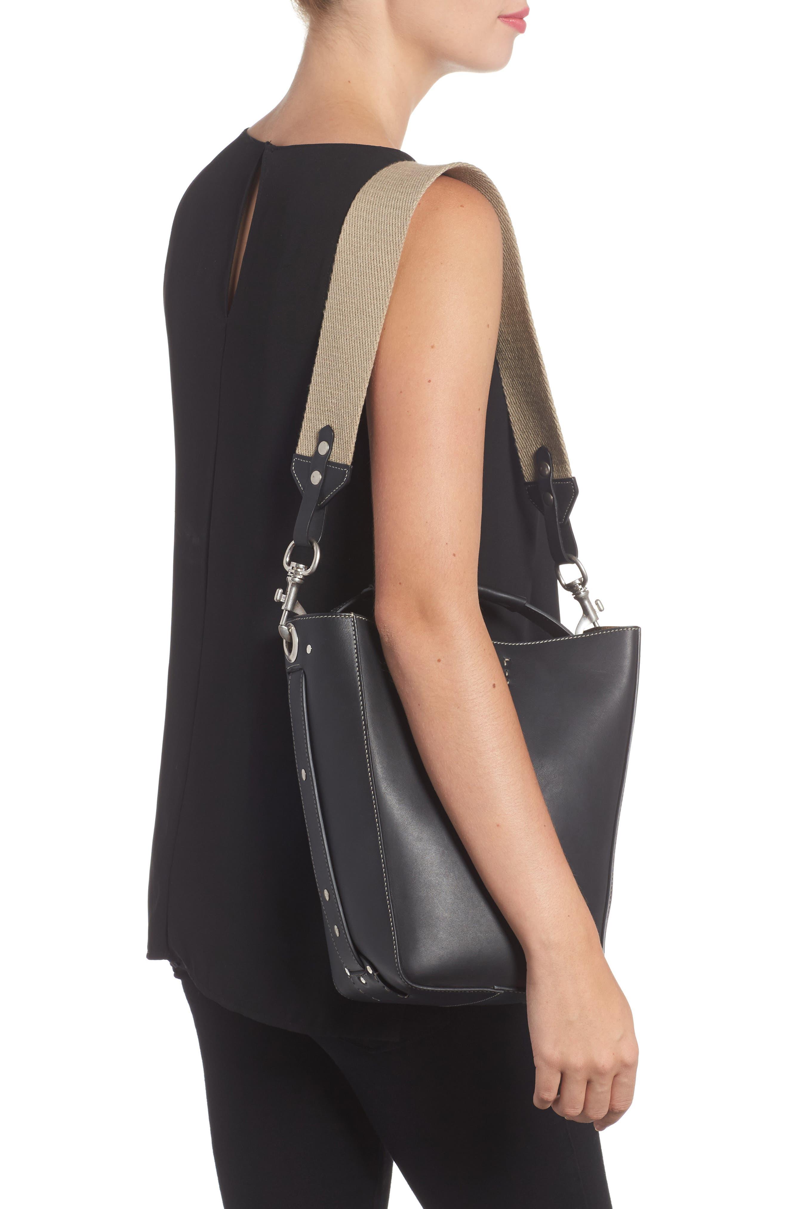 Starlet Leather Bucket Bag,                             Alternate thumbnail 2, color,                             BLACK