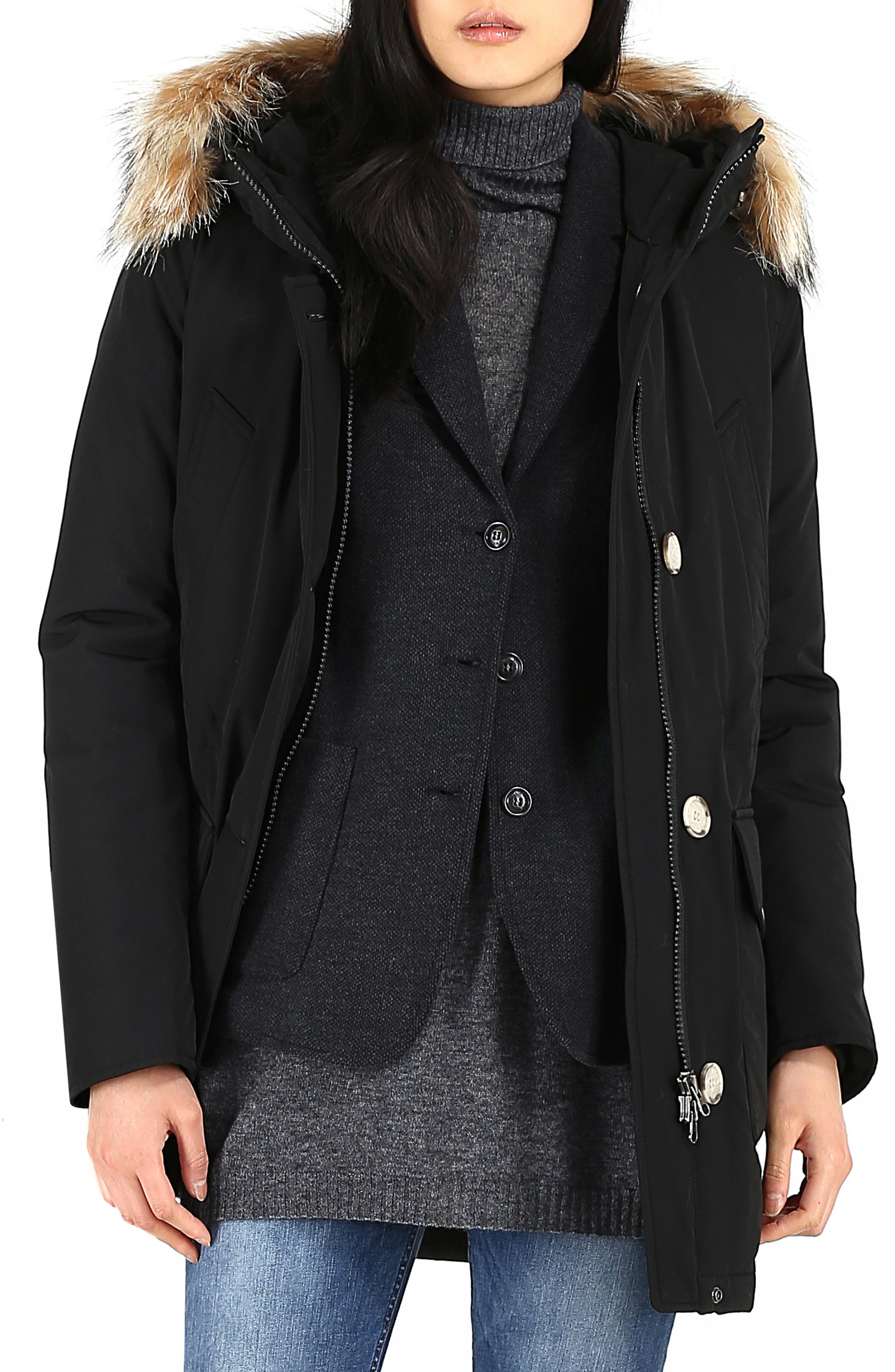 High Collar Arctic Down Parka with Genuine Coyote Fur Trim,                         Main,                         color, BLACK