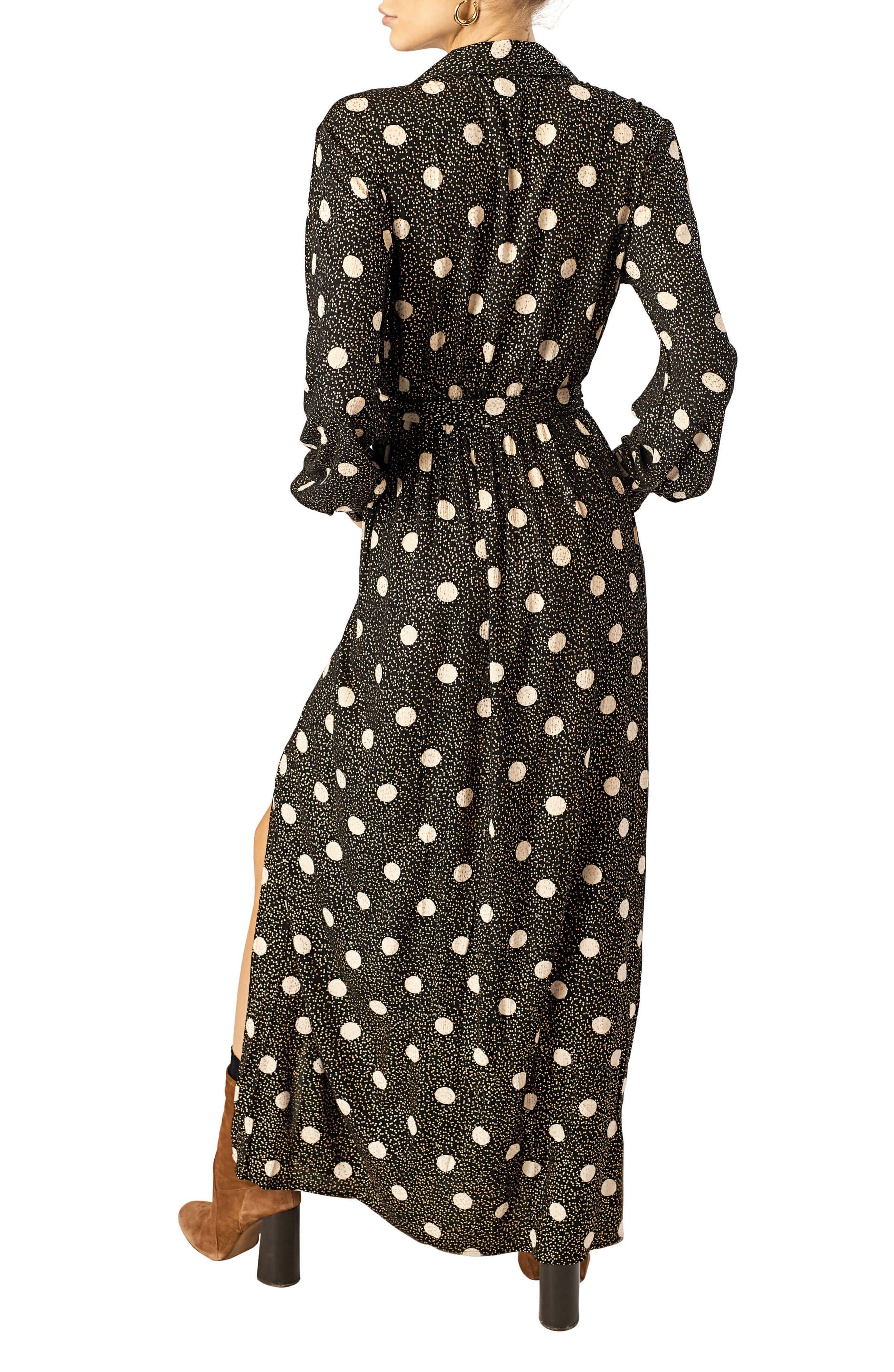 STONE ROW,                             Smoka Dot Surplice Maxi Dress,                             Alternate thumbnail 2, color,                             BLACK COMBO