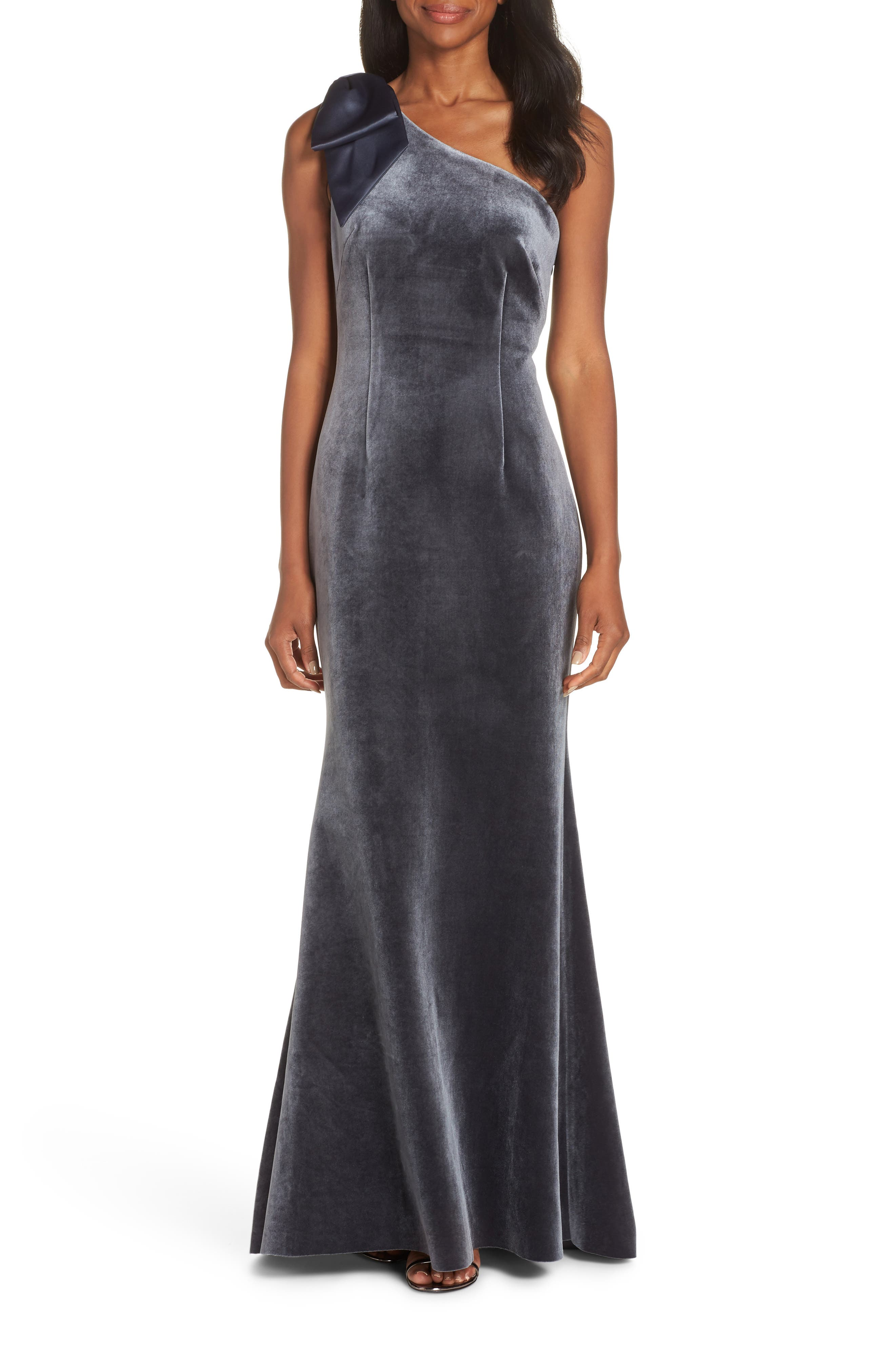 Bow One-Shoulder Velvet Gown,                             Main thumbnail 1, color,                             STEEL