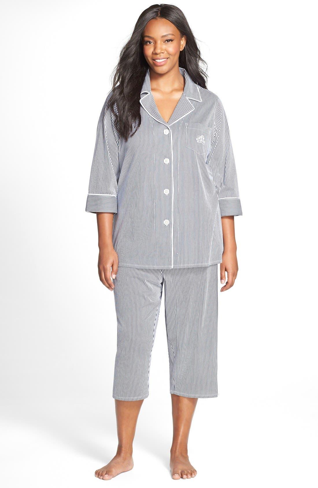 Knit Crop Pajamas,                             Main thumbnail 2, color,