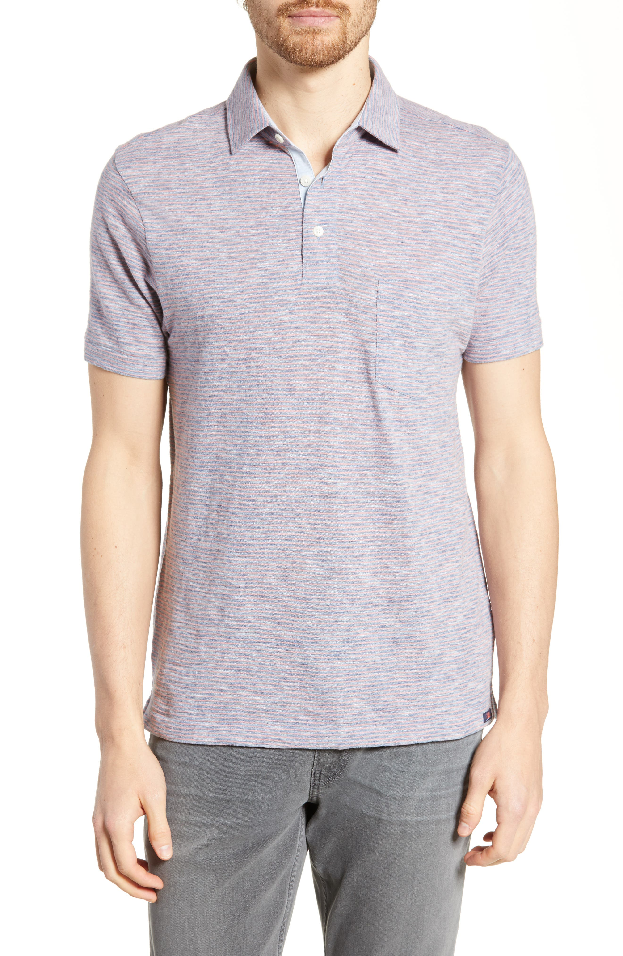 Faherty Heather Regular Fit Stripe Polo, Blue