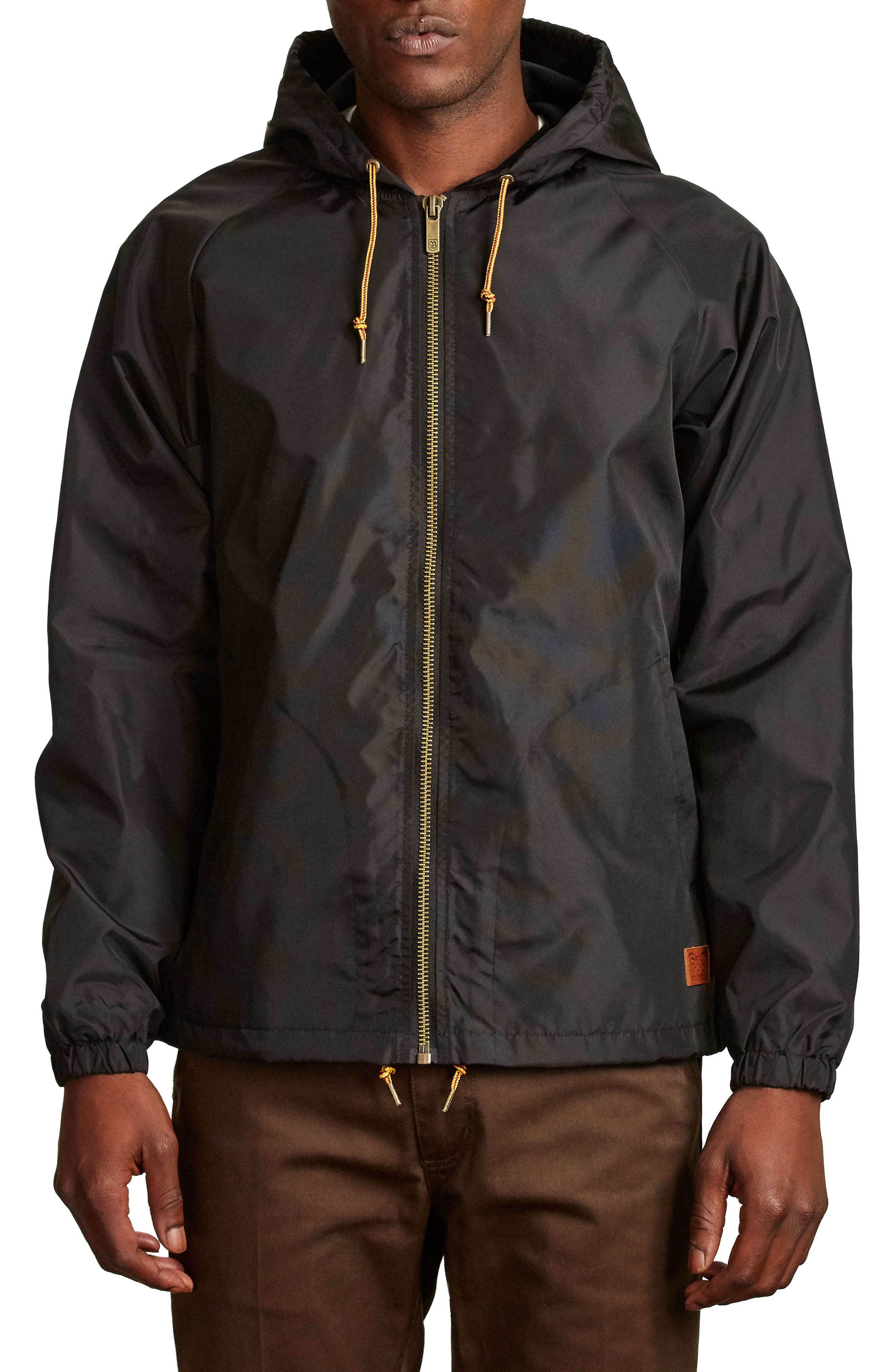 Claxton Water Repellent Hooded Windbreaker,                         Main,                         color, 001