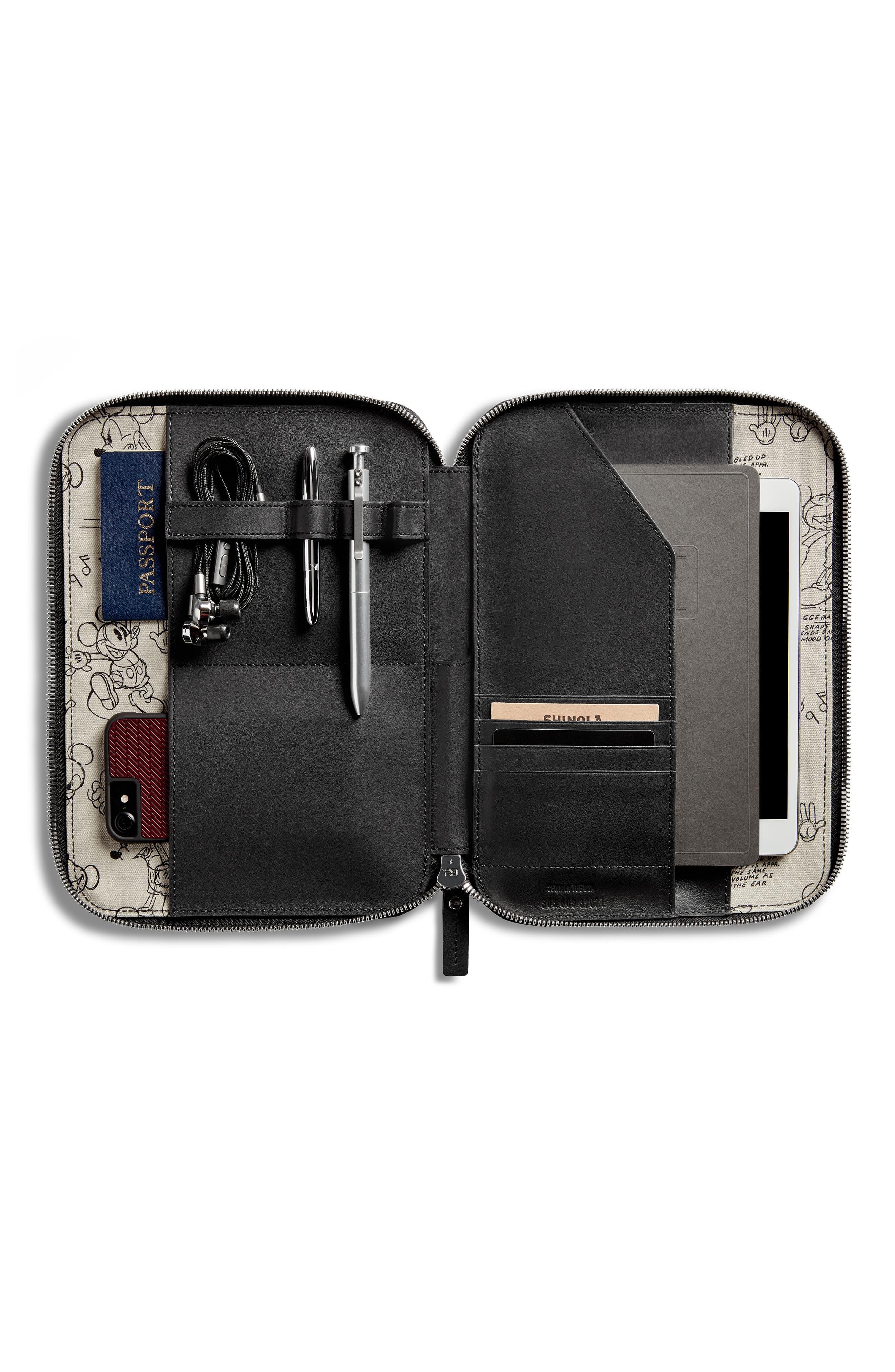SHINOLA,                             x Disney Leather Tech Portfolio,                             Alternate thumbnail 4, color,                             BLACK