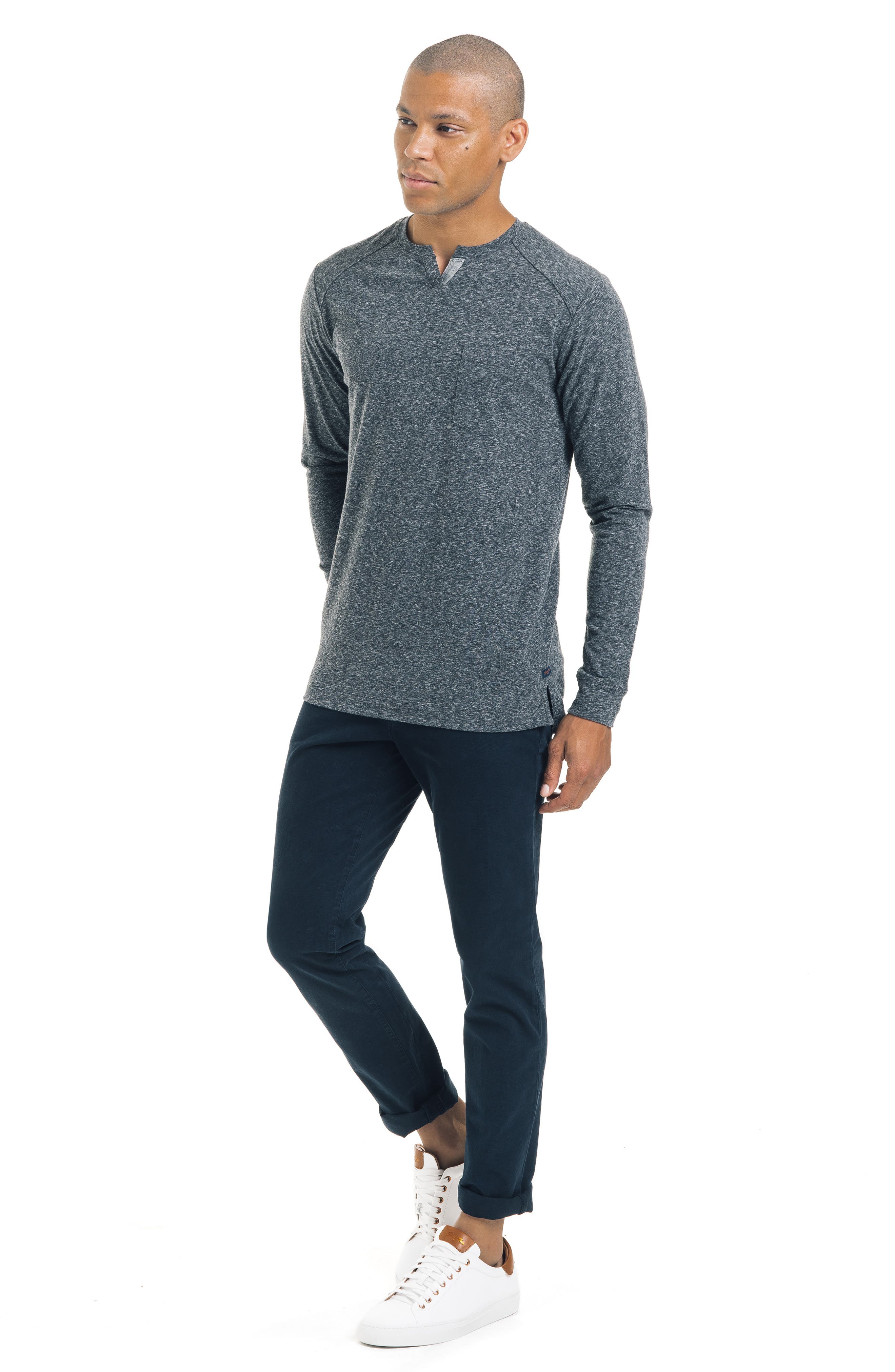 Slim Fit Notched Long Sleeve T-Shirt,                             Alternate thumbnail 5, color,                             CHARCOAL HEATHER