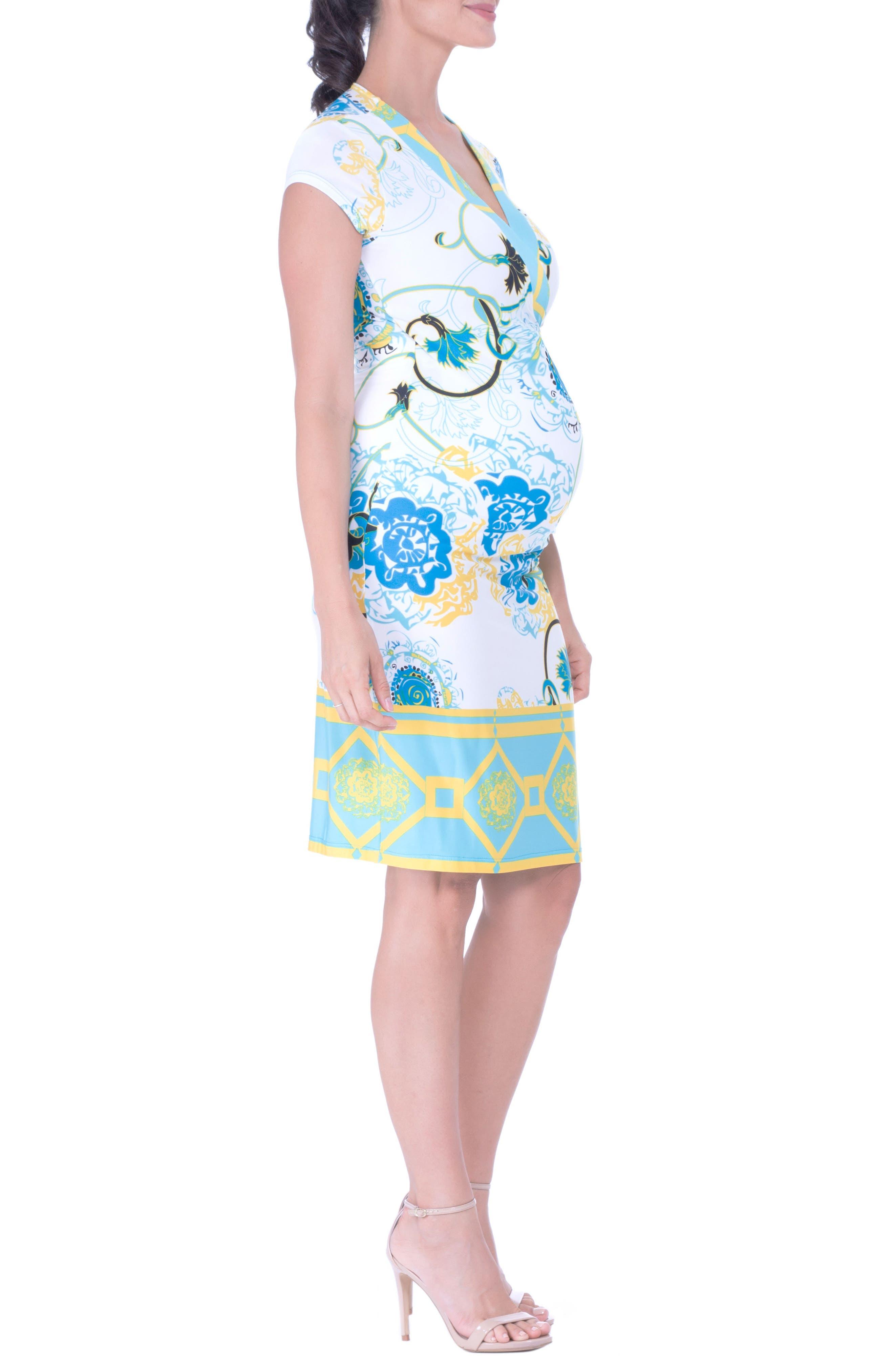 Faux Wrap Maternity Dress,                             Alternate thumbnail 3, color,                             AQUA