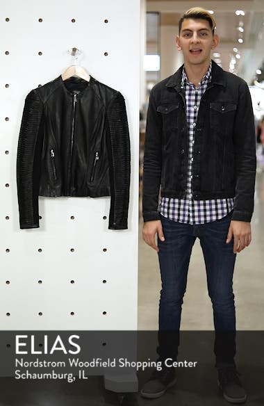Collarless Pleated Sleeve Leather Jacket, sales video thumbnail