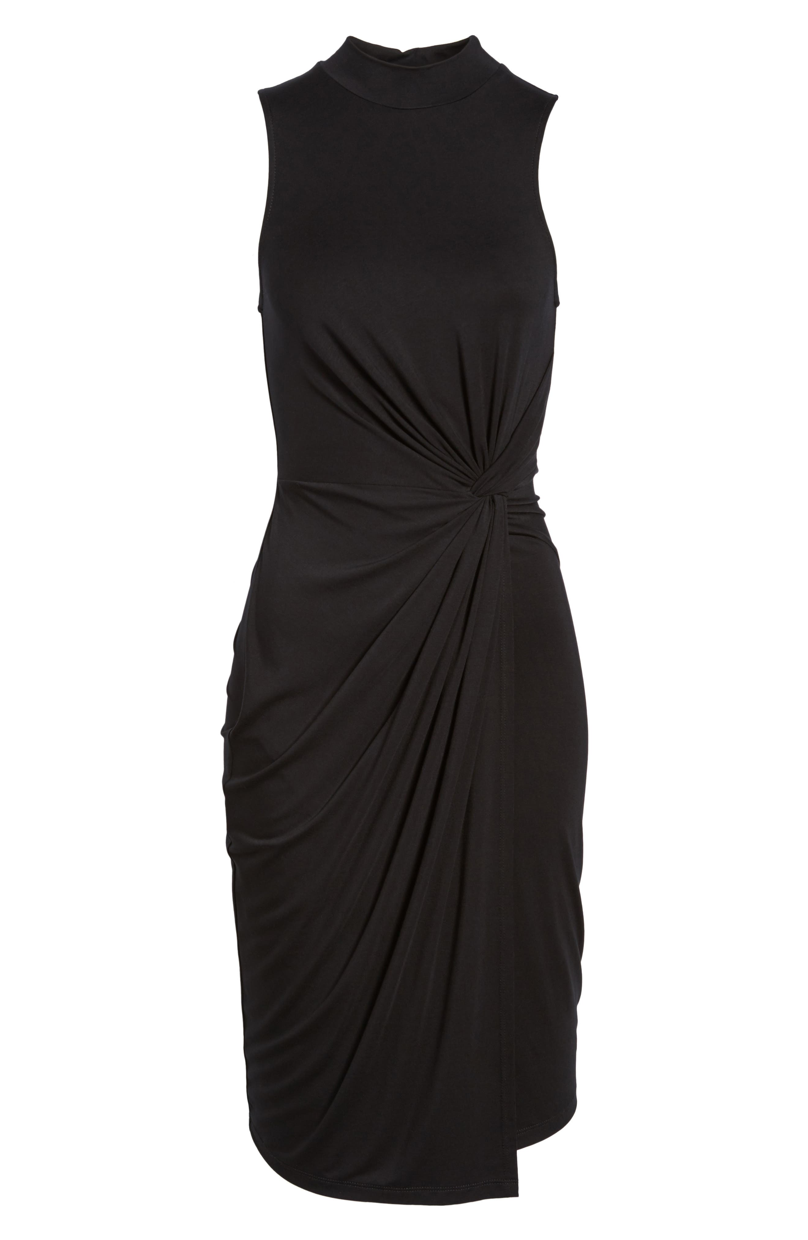 Twist Front Body-Con Dress,                             Alternate thumbnail 6, color,                             001