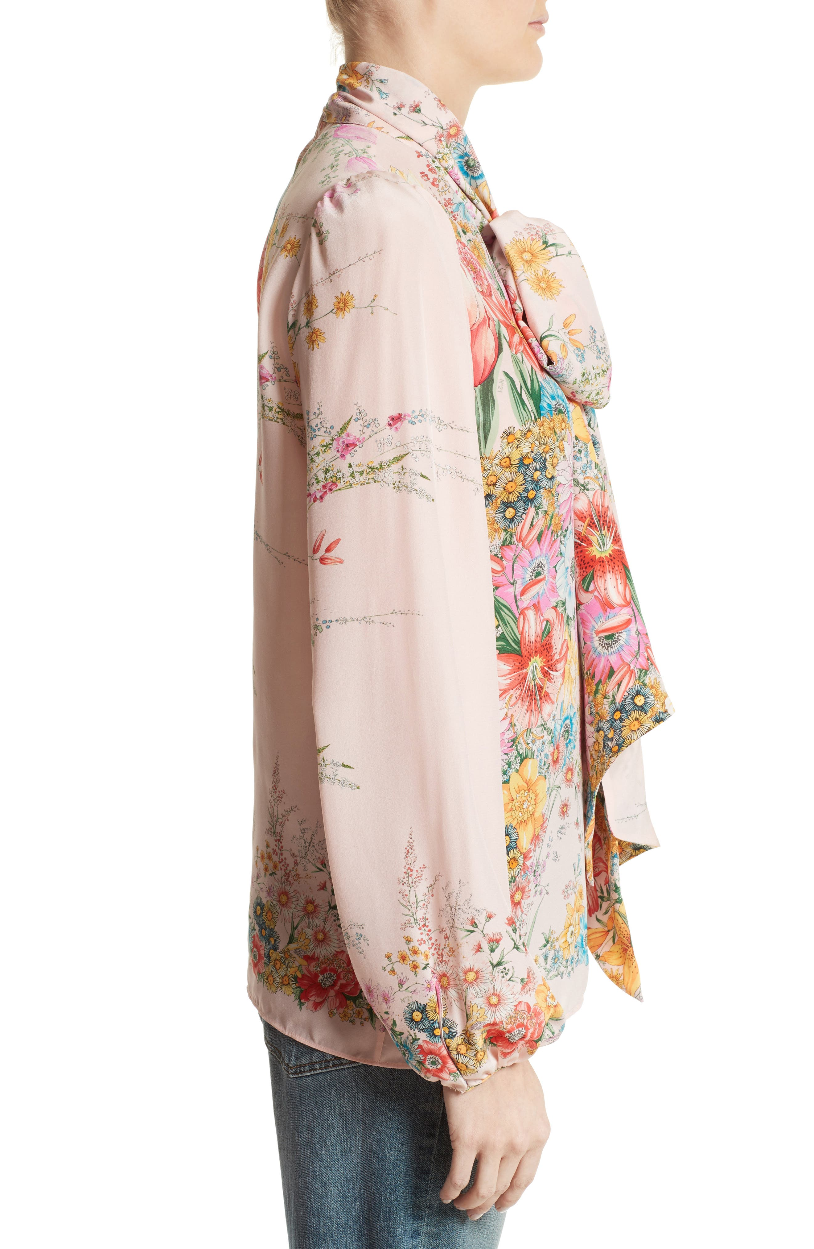 Floral Print Tie Neck Silk Shirt,                             Alternate thumbnail 3, color,                             100